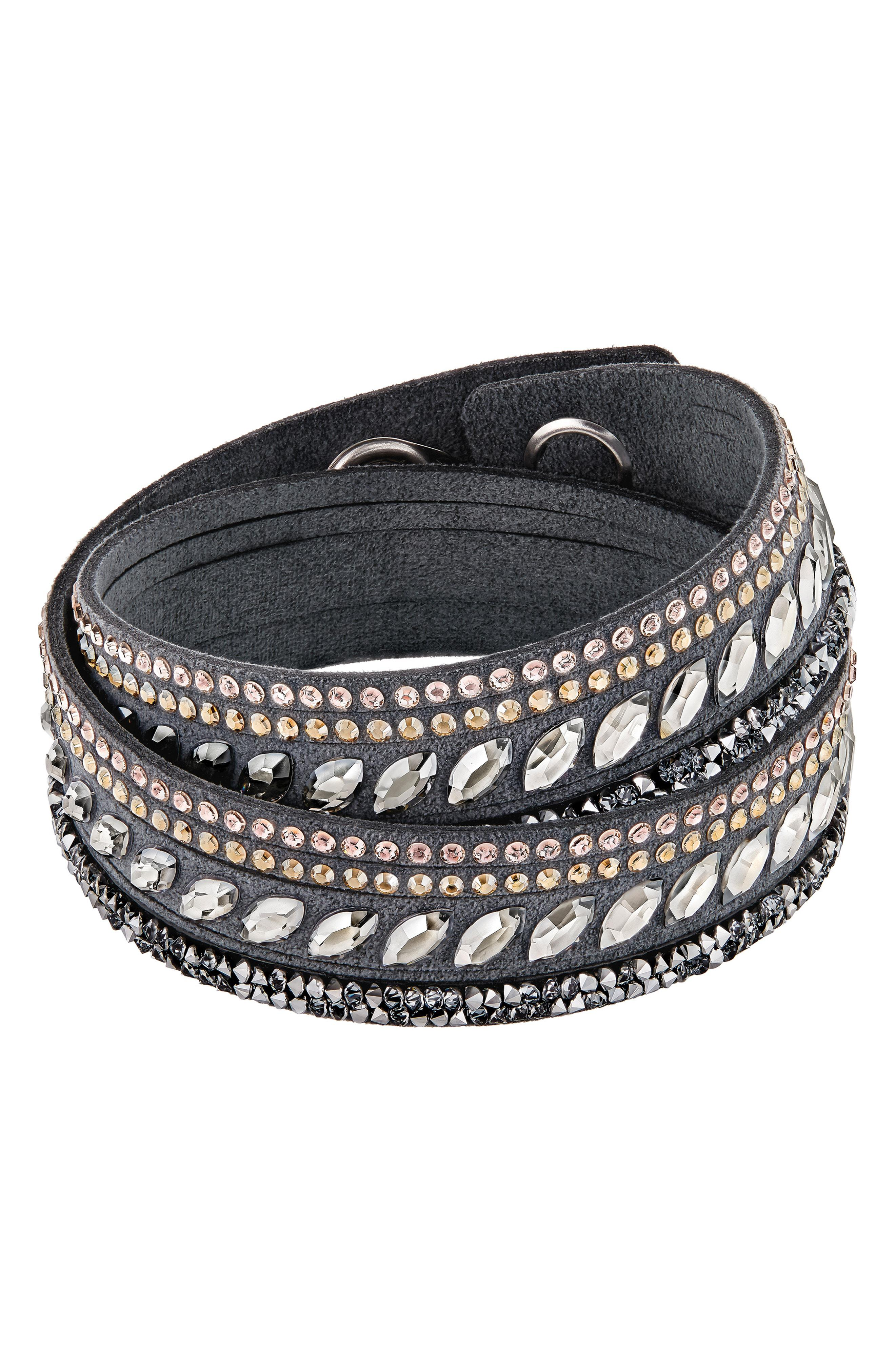 Stainless Steel Slake Pulse Crystal Wrap Bracelet