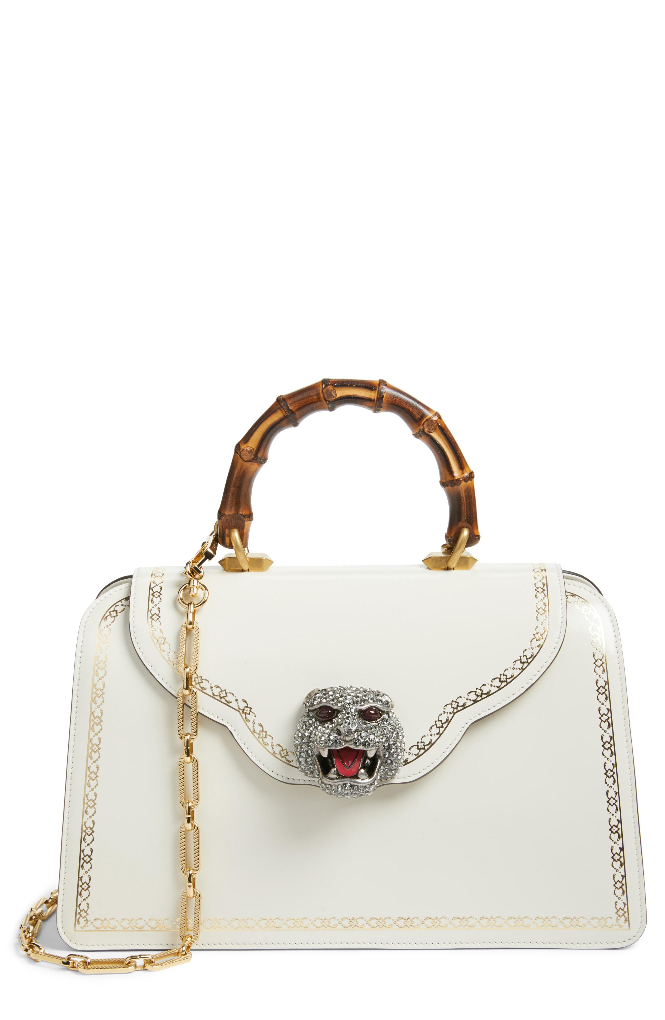 290948833734 Lyst - Gucci Gatto Medium Top Handle Bag in White