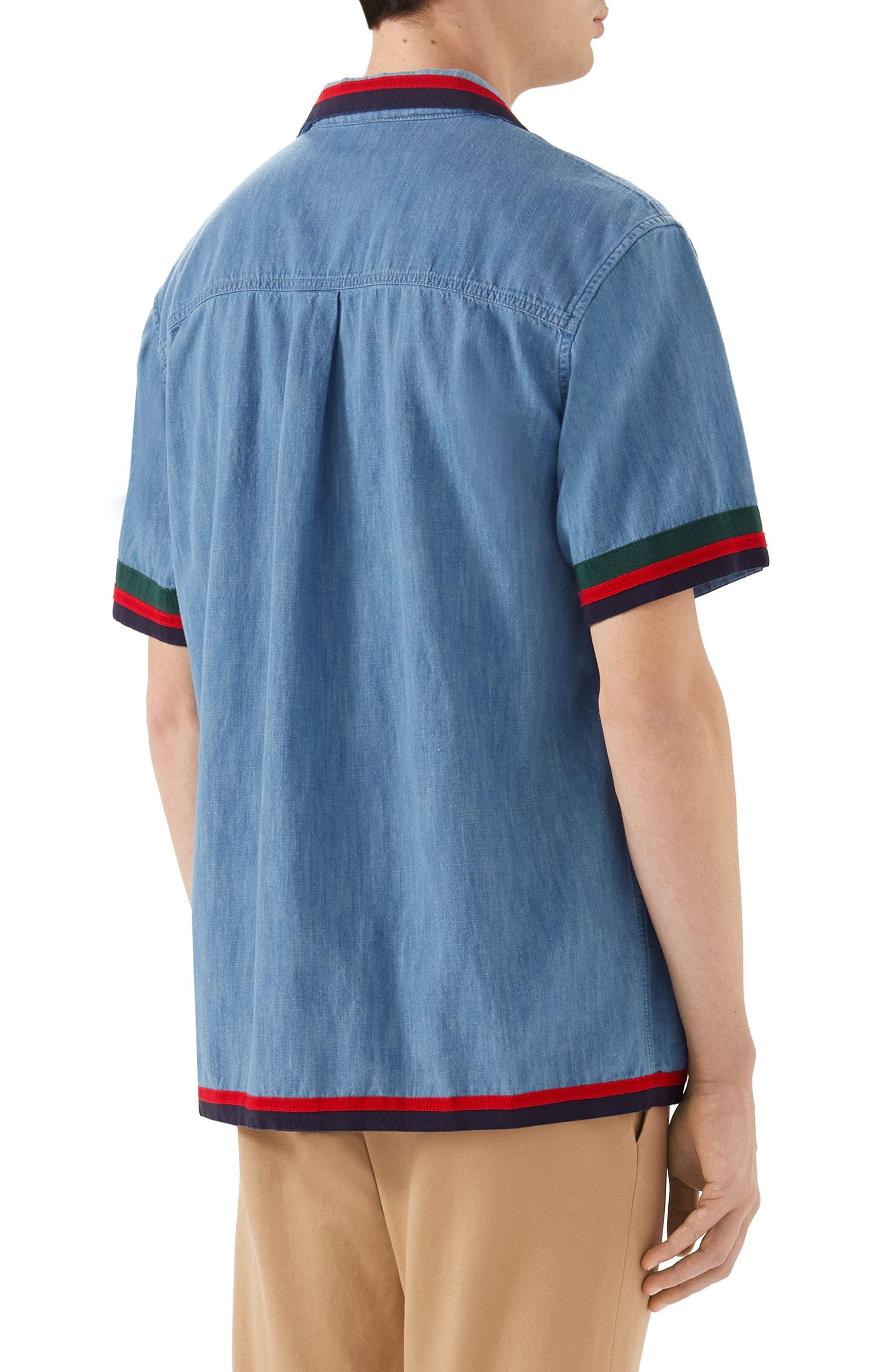a920e2ce1 Gucci Stonewash Denim Bowling Shirt in Blue for Men - Lyst