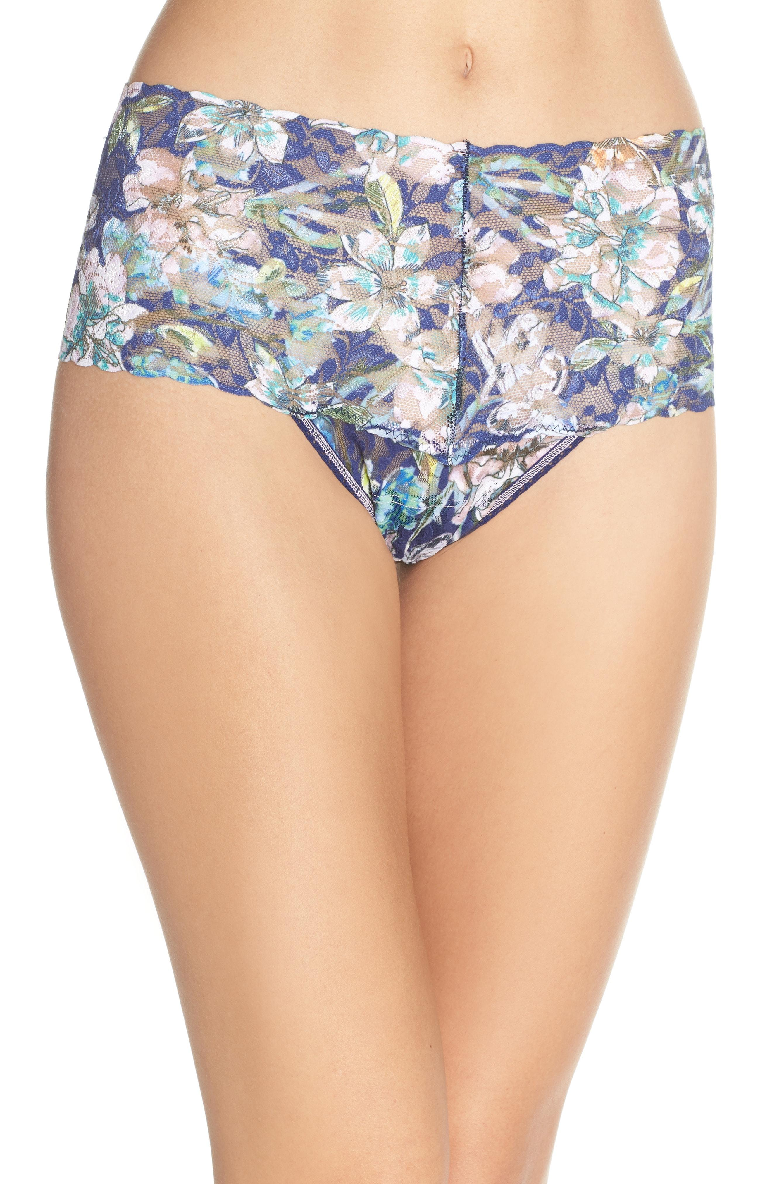 3dbeda725a Lyst - Hanky Panky Felice Floral Retro Thong in Blue