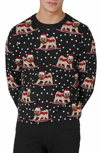 Lyst - Topman Skiing Pug Sweater in Black for Men