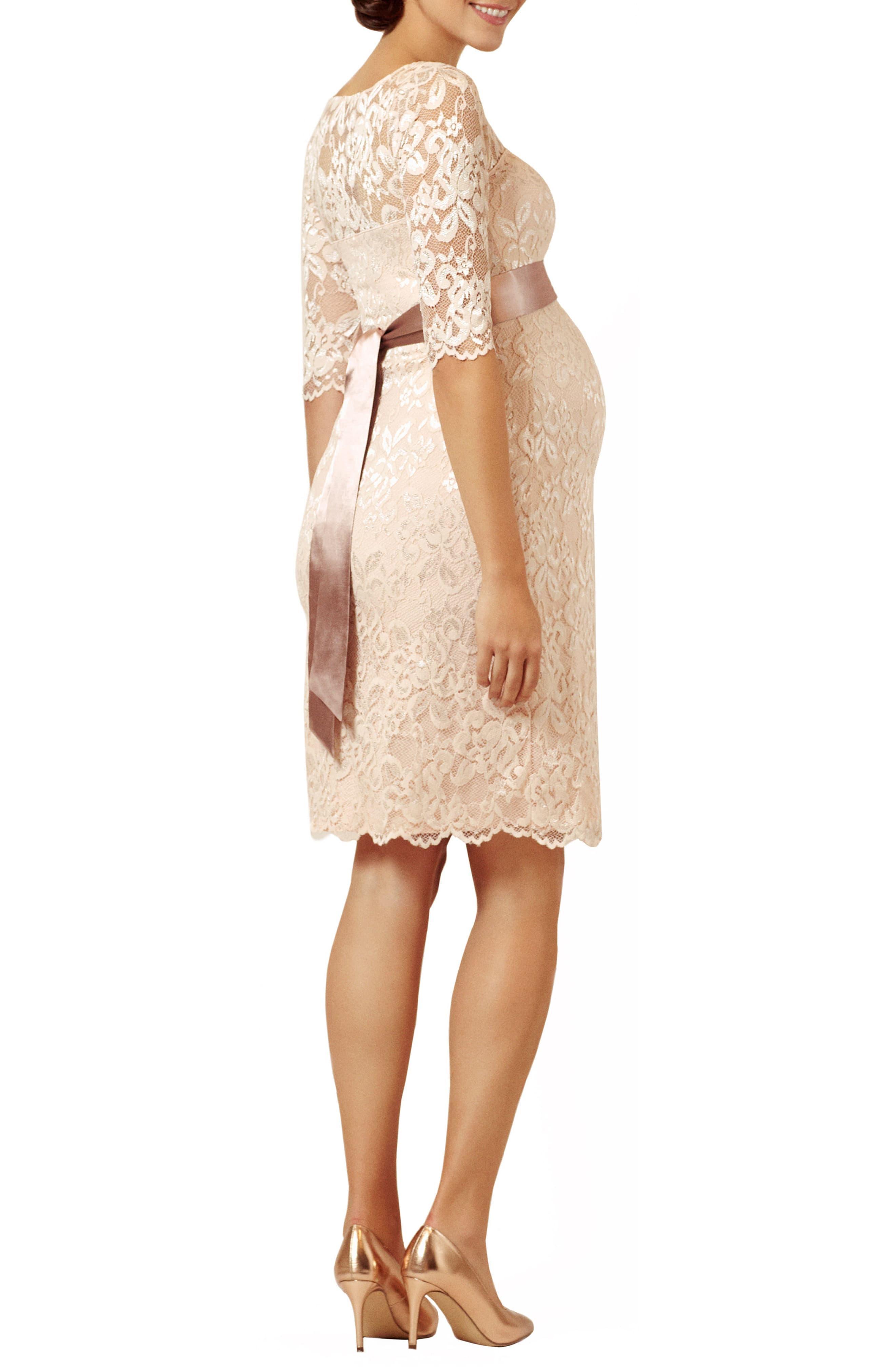 Maternity Amelia Scalloped Lace Dress With Satin Sash