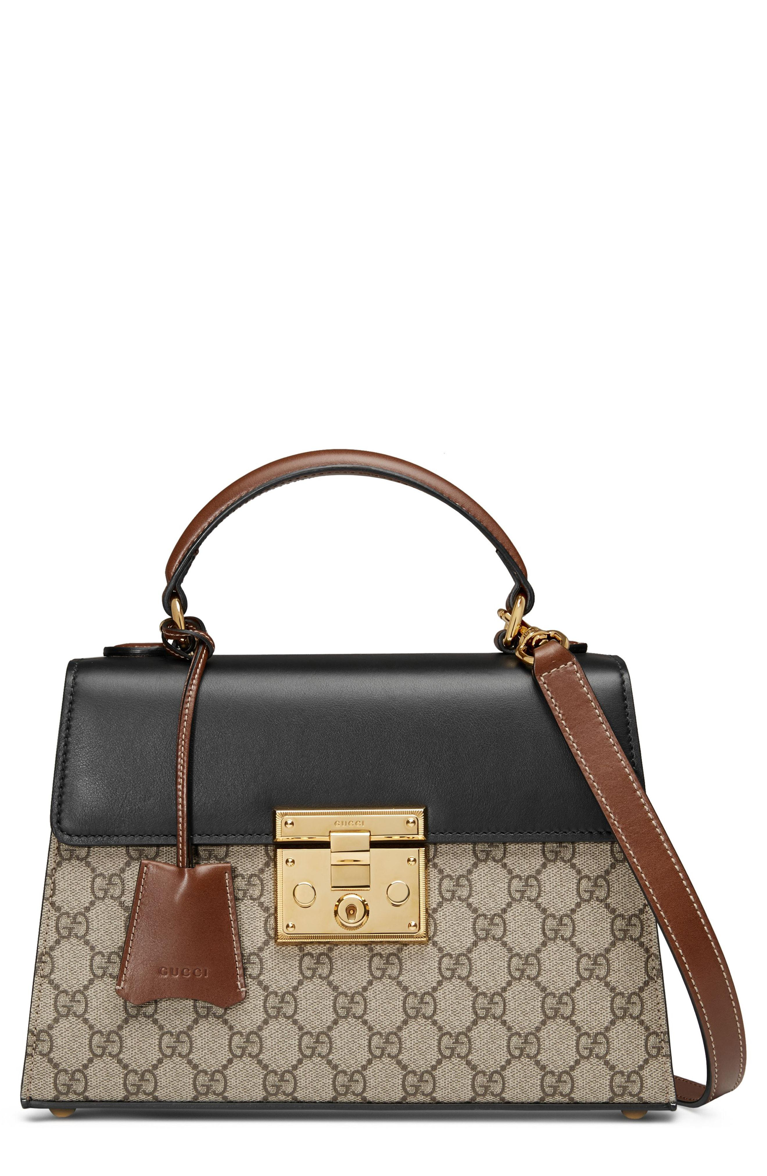 60254104ad0 Gucci - Black Small Padlock Gg Supreme Canvas   Leather Top Handle Satchel  - - Lyst. View fullscreen