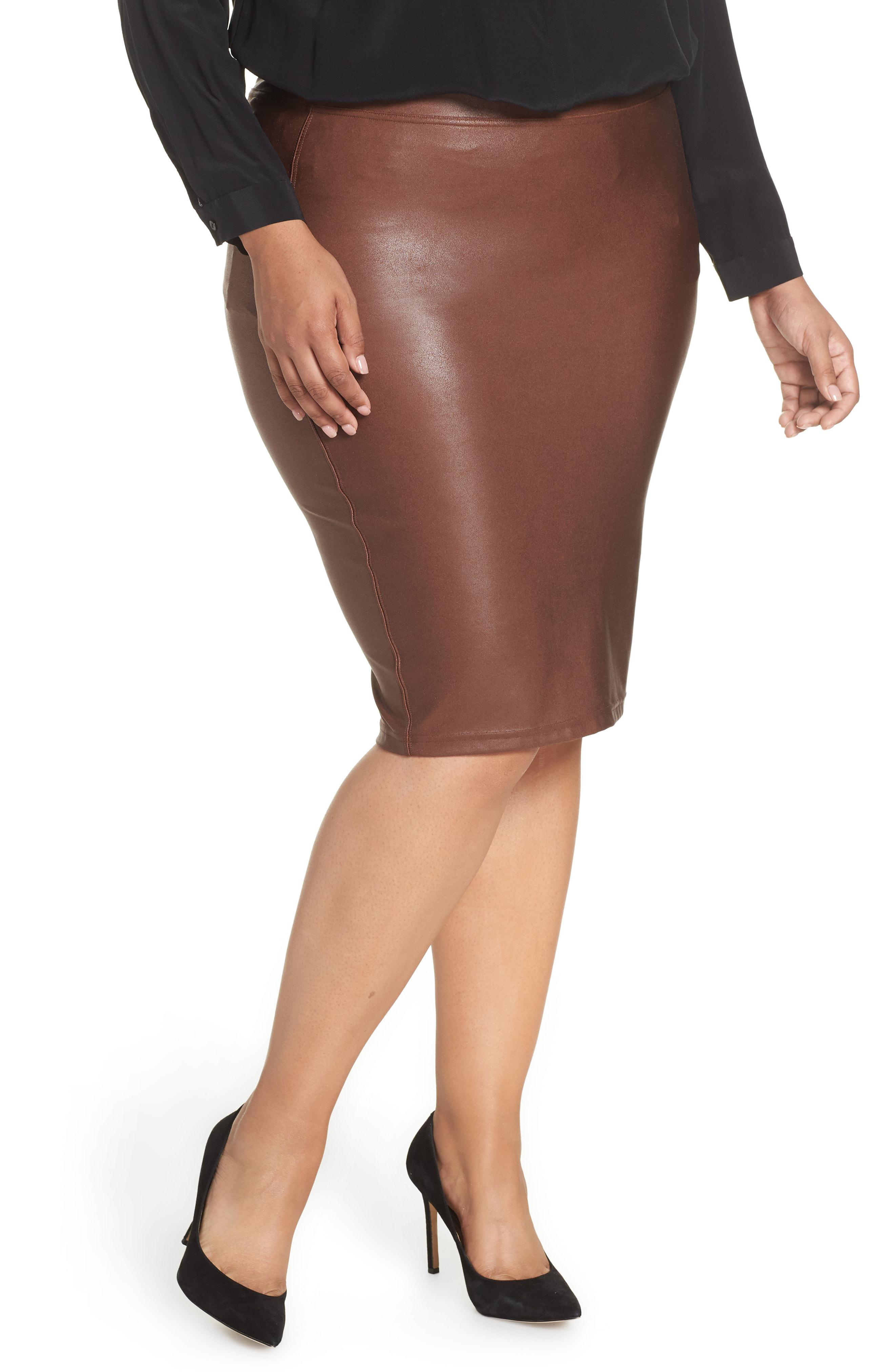 4757f1378dab6 Faux Leather Pencil Skirt Spanx
