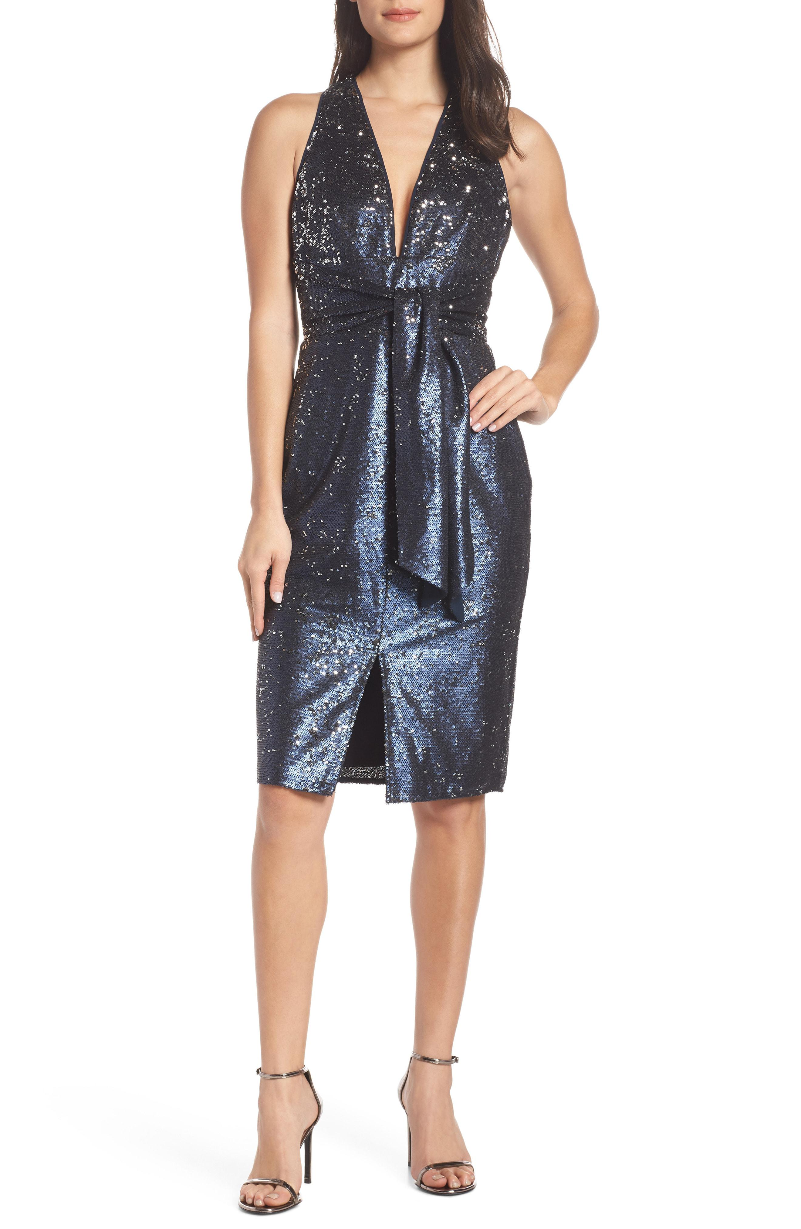 4a032ccd892 Harlyn Plunge Neck Sequin Dress in Blue - Lyst