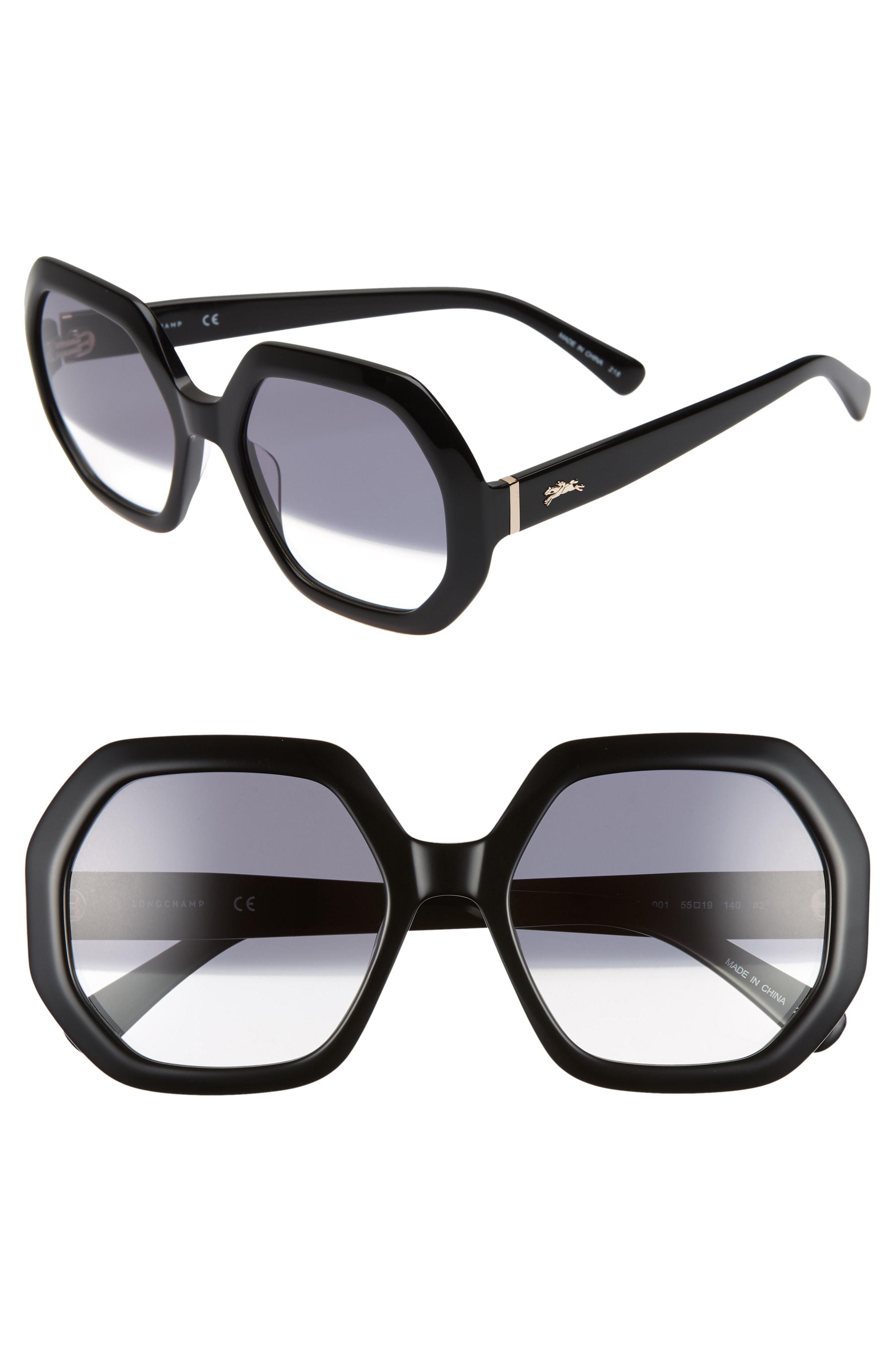 7f39b6673ad Longchamp - Black Heritage 55mm Gradient Lens Geometric Sunglasses - Lyst.  View fullscreen