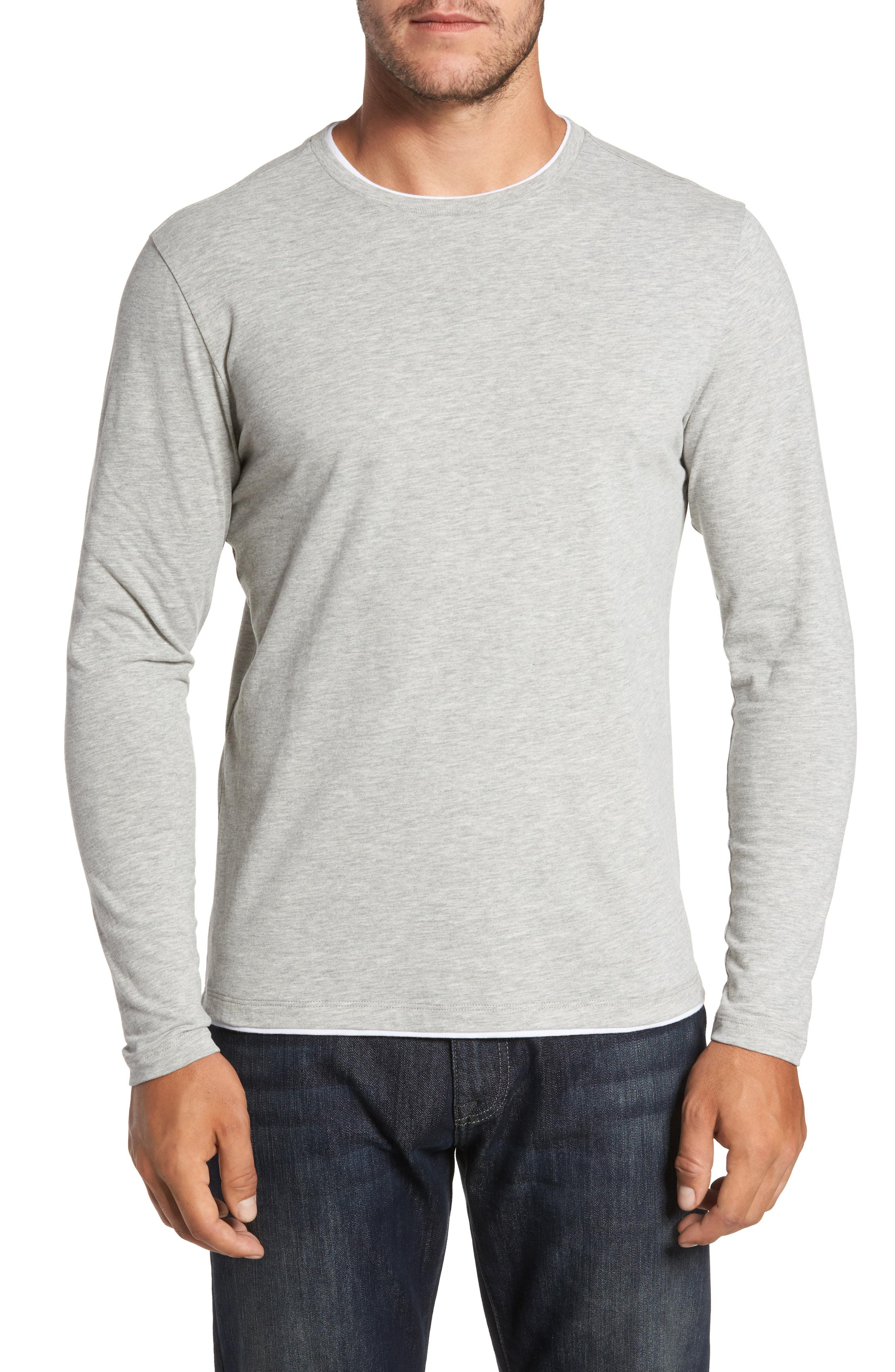 c3a0575e4343b2 Lyst - Robert Barakett Halifax Long Sleeve Crewneck T-shirt in Gray ...