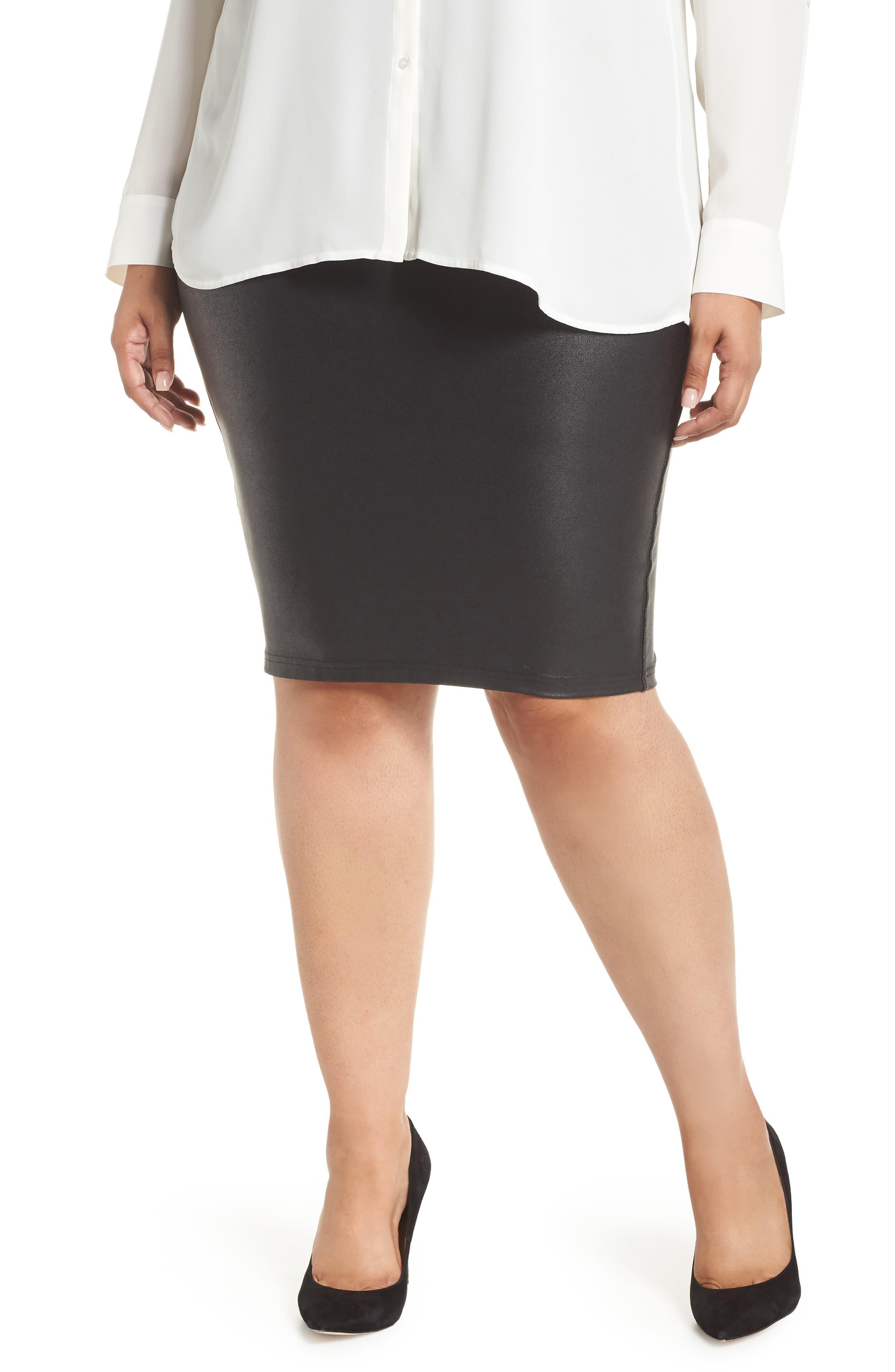 4b35782db3 ... Faux Leather Pencil Skirt - Lyst. View fullscreen