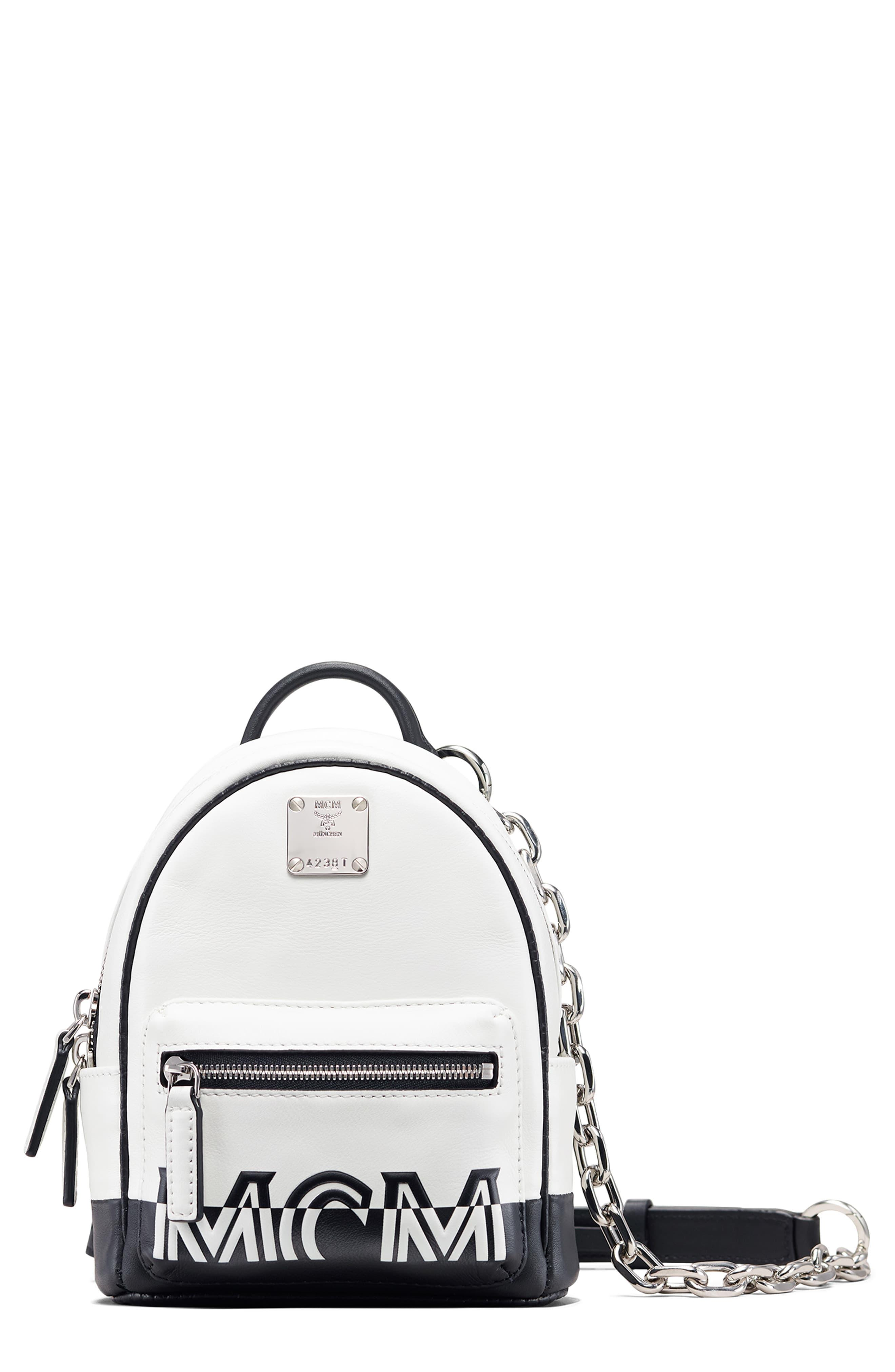 Mcm Mini Contrast Logo Leather Crossbody Bag In White Lyst