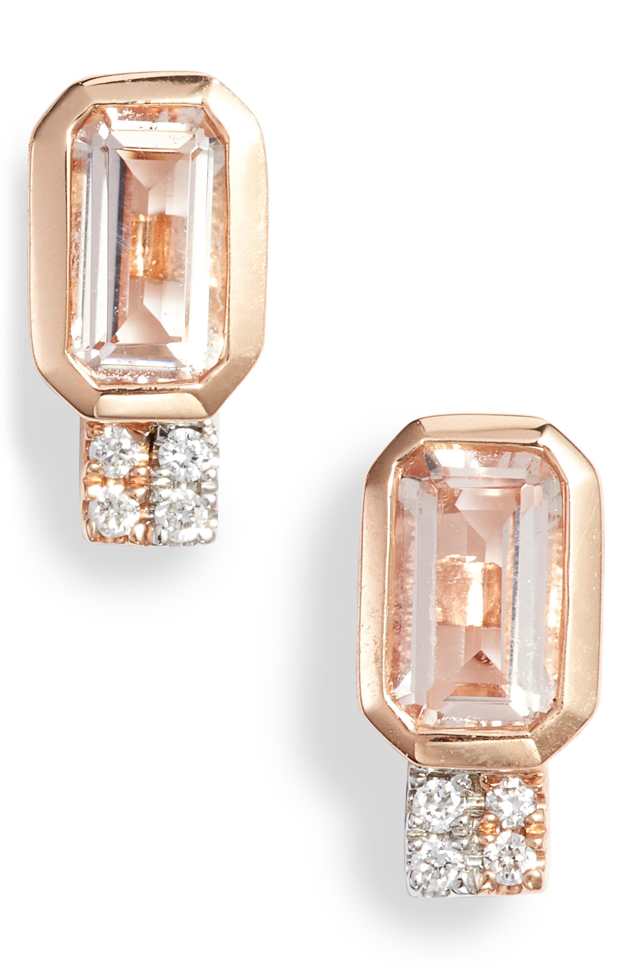 Bony Levy Morganite Diamond Stud Earrings Nordstrom Exclusive In Rose Gold Diamond Metallic Lyst