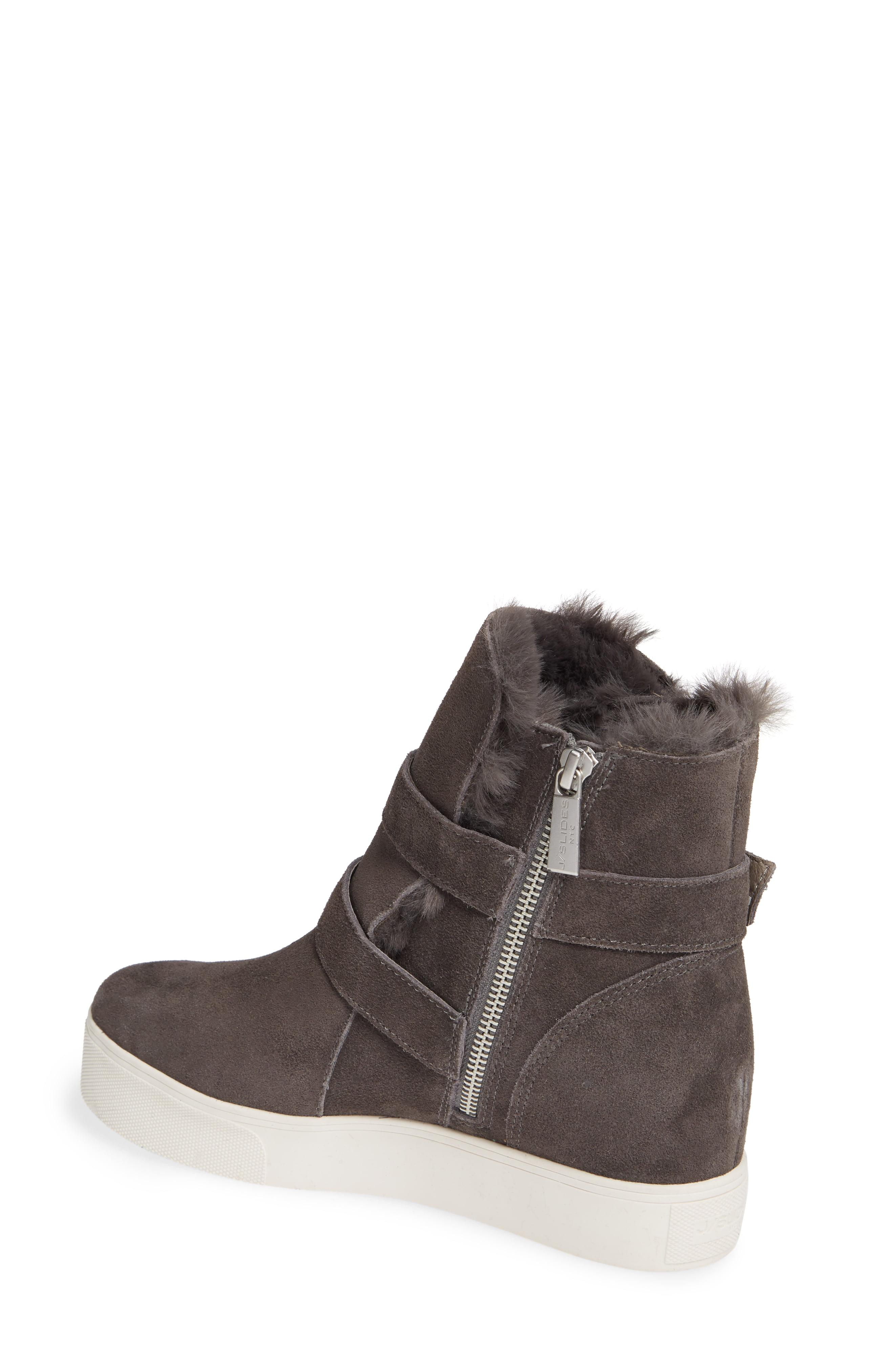 J/Slides Wells Faux Fur Trim High Top