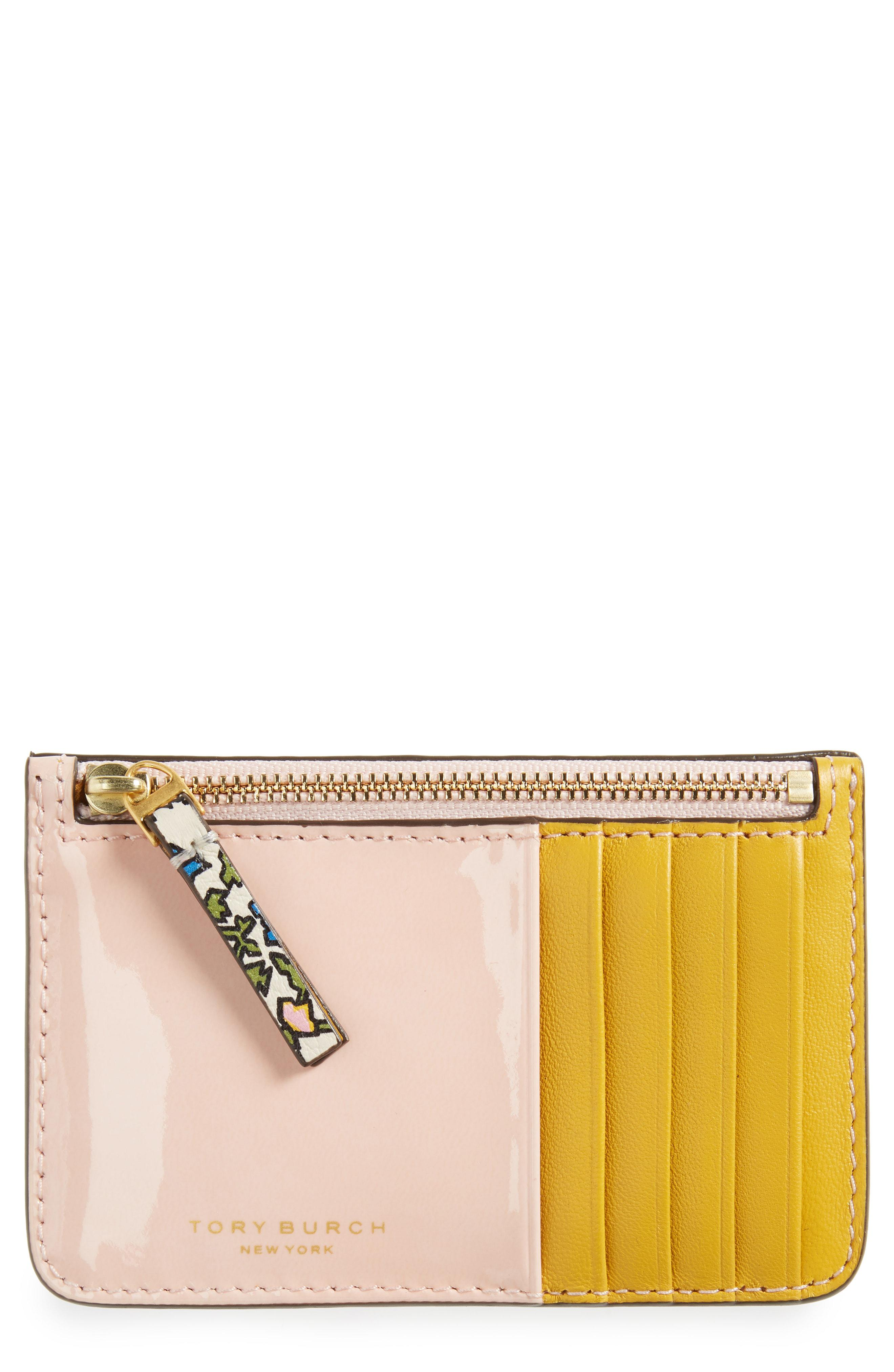 6fe8f96037f Lyst - Tory Burch Colorblock Leather Card Case in White