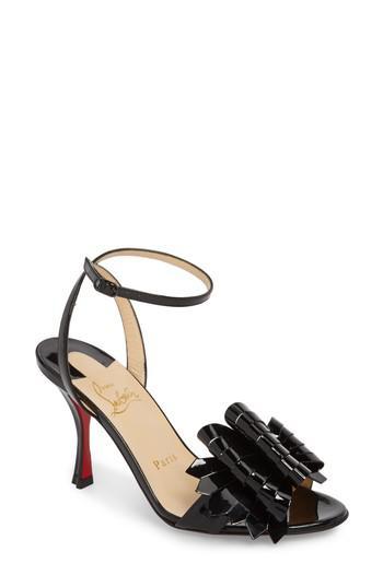 big sale d4f2c 188f3 Christian Louboutin Black Miss Valois Bow Ankle Strap Sandal