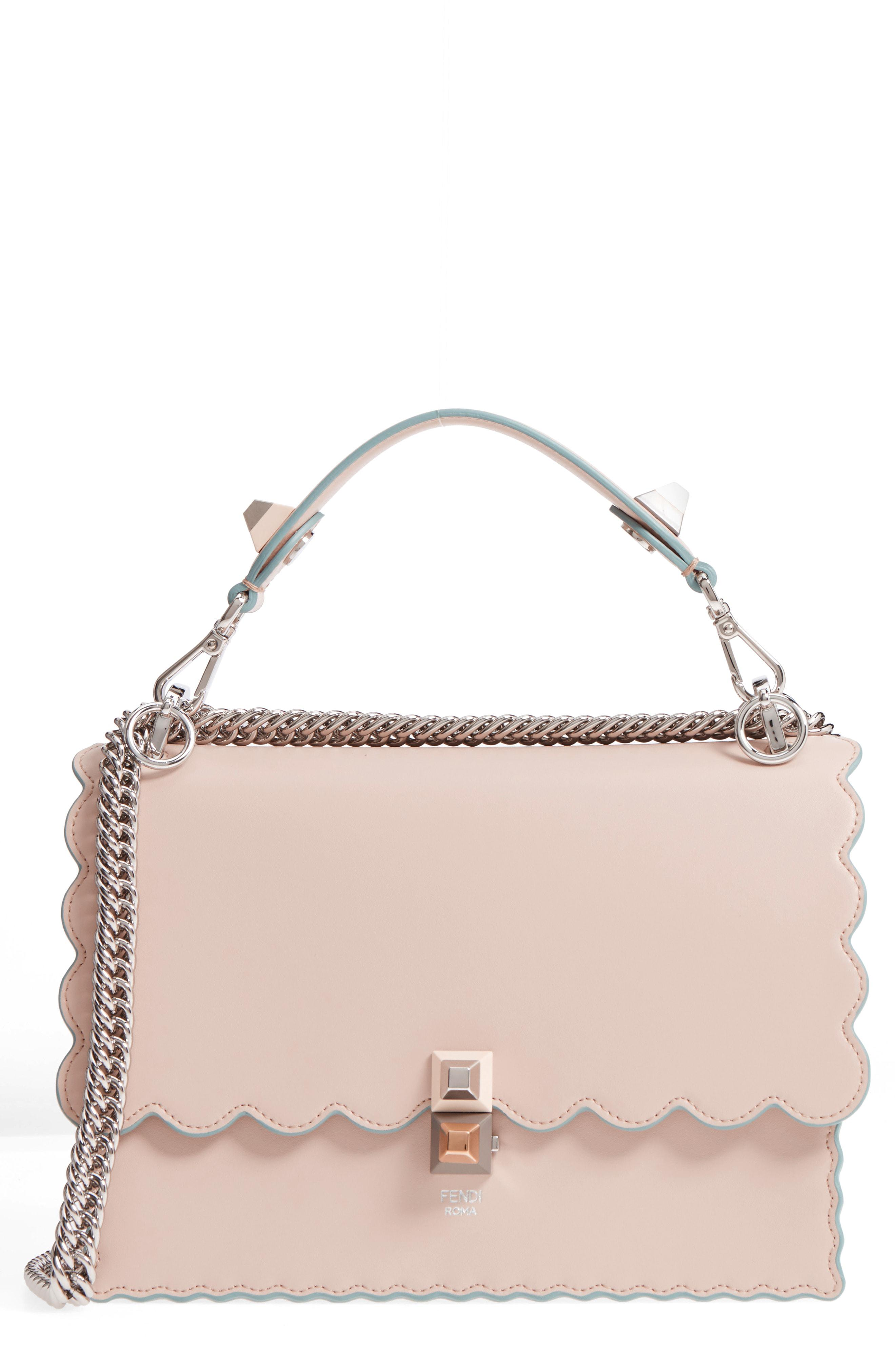 ... Lyst Fendi Kan I Scallop Leather Shoulder Bag
