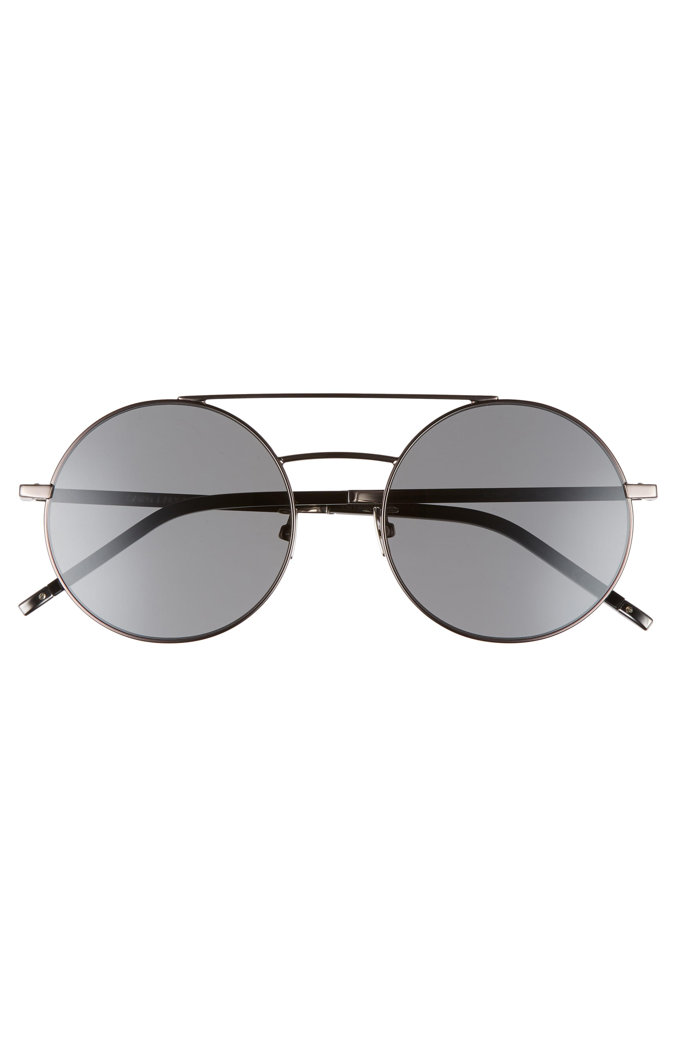 2002a5895a489 Saint Laurent Sl 210 f 56mm Round Aviator Sunglasses - Dark ...