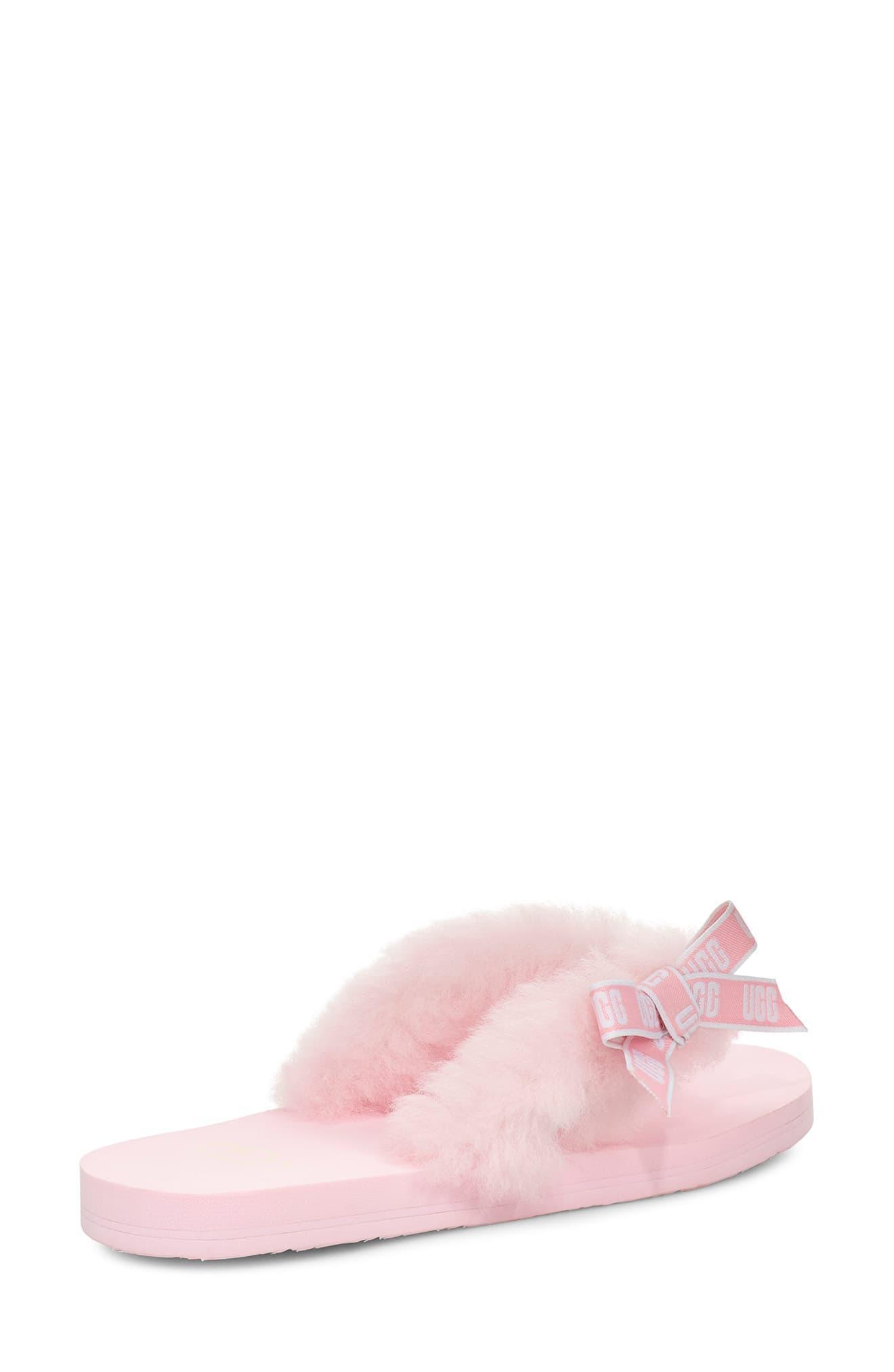 77cb66e85dd Women's Pink Ugg Sunset Graphic Genuine Shearling Flip Flop