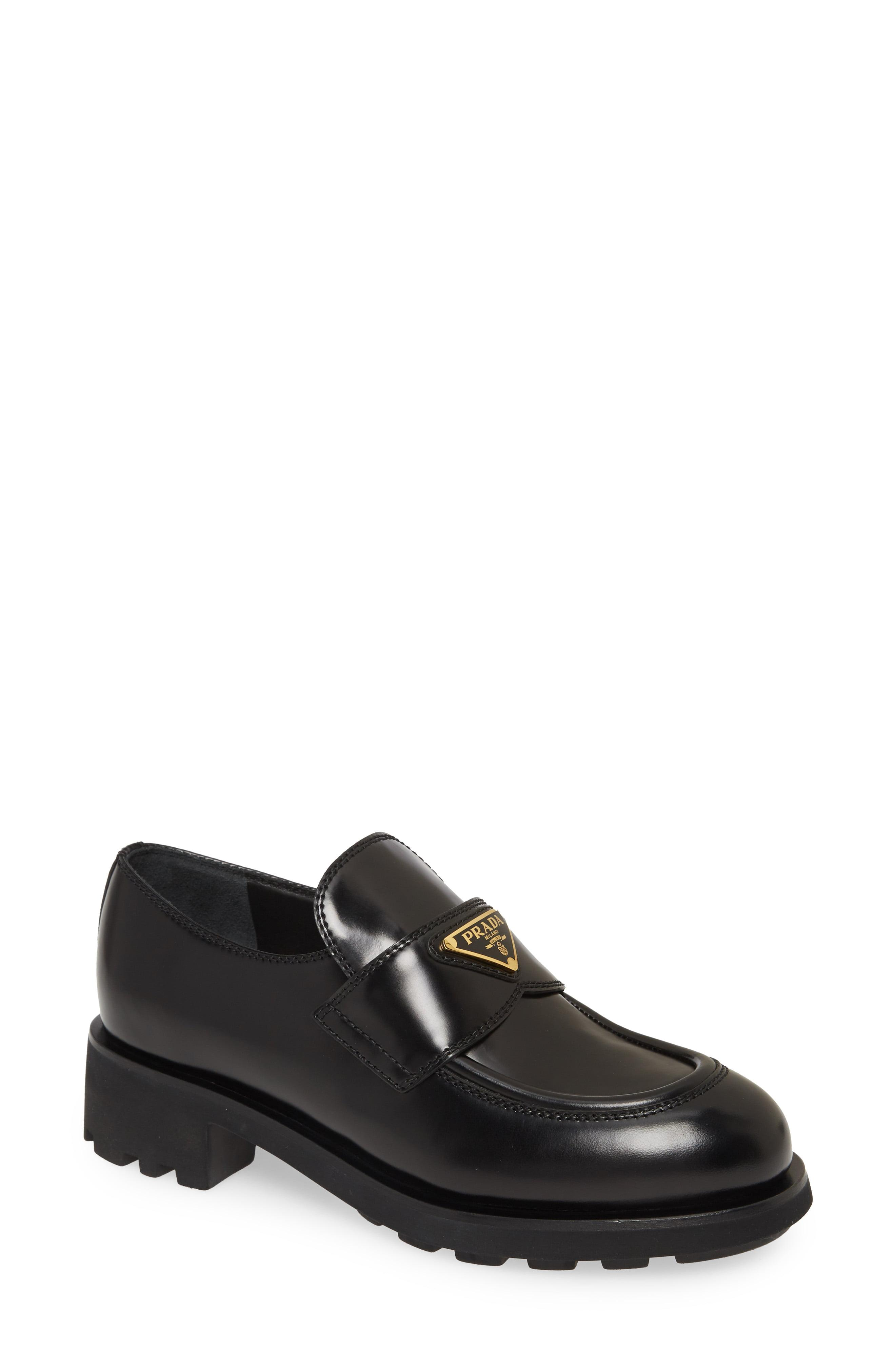 Prada Logo Block Heel Penny Loafer in Black - Lyst