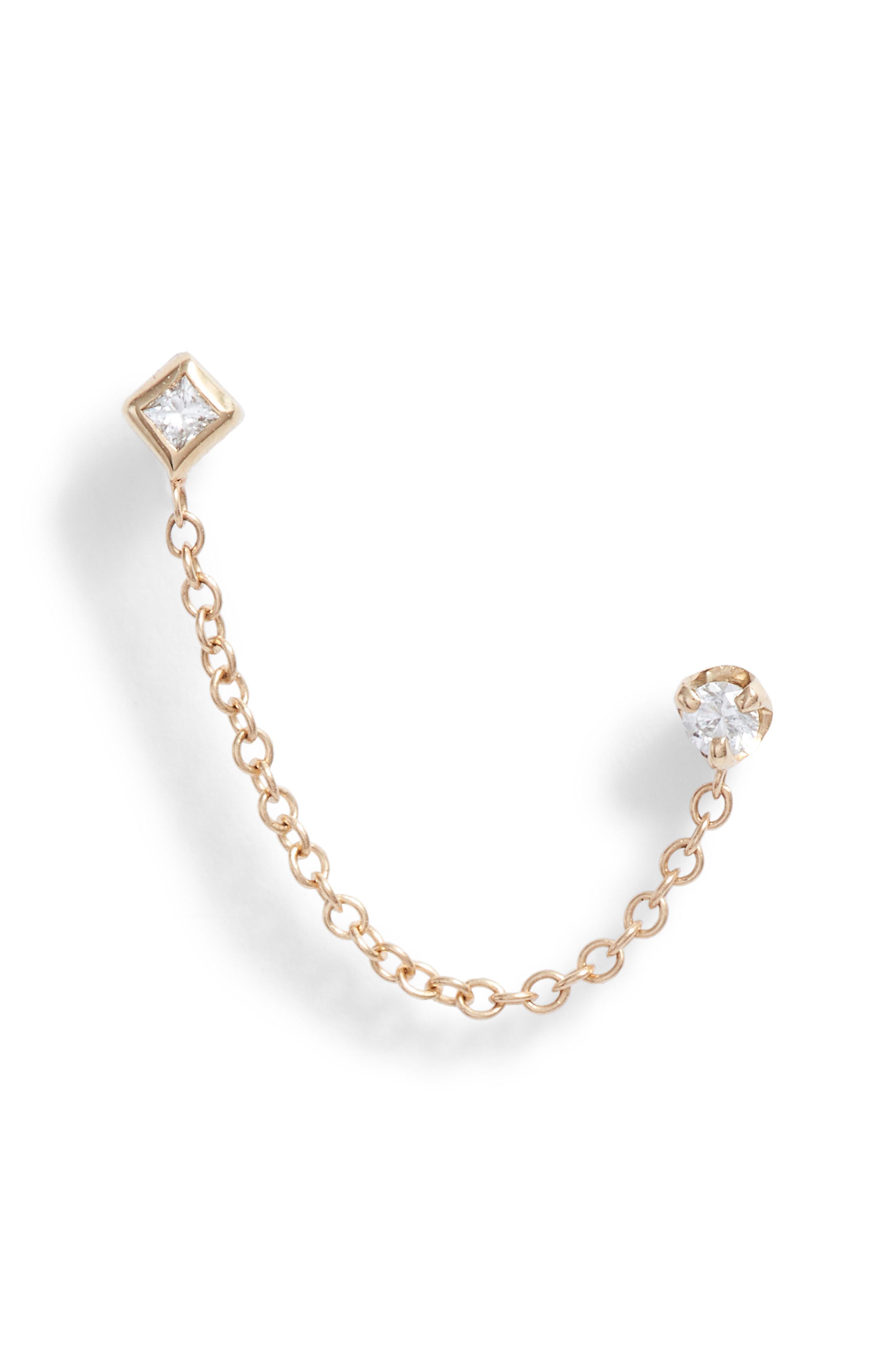 ad19bb56d3 Lyst - Zoe Chicco Diamond Chain Stud Earring in Metallic