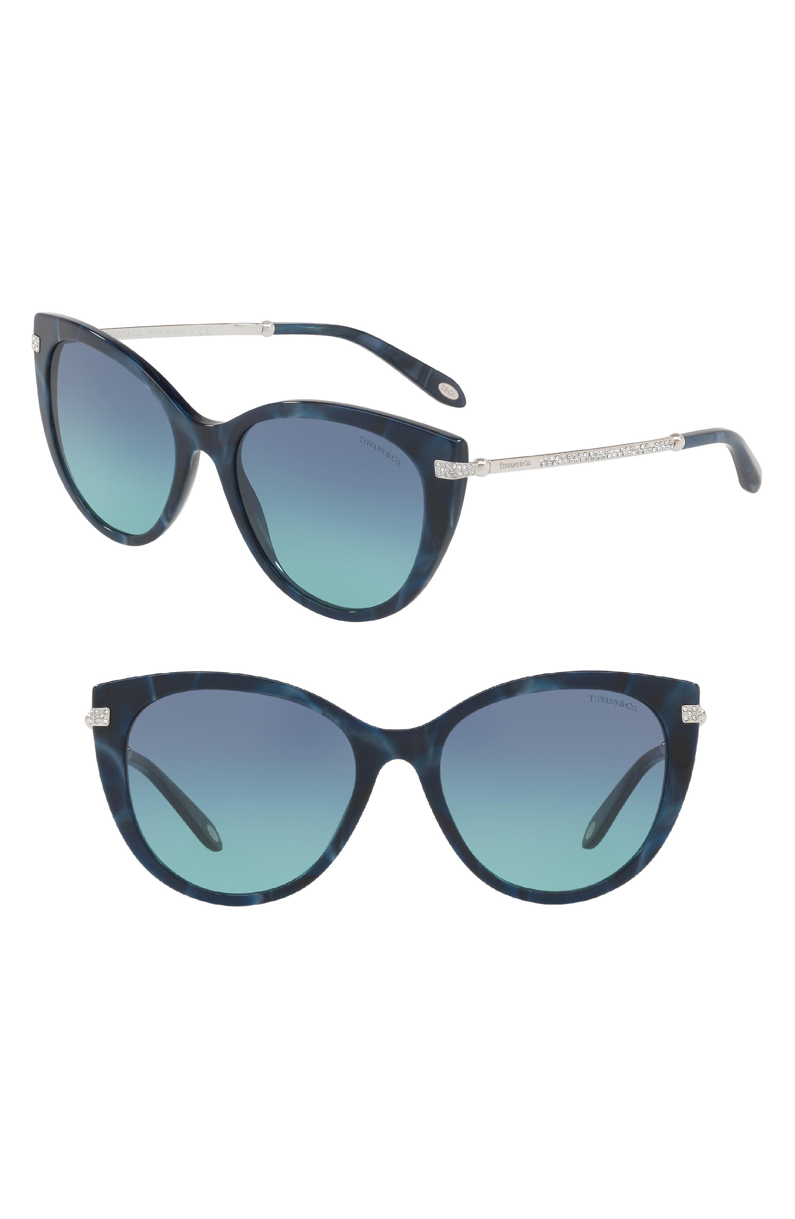 e10004df960b3 Lyst - Tiffany   Co. 55mm Gradient Cat Eye Sunglasses in Blue