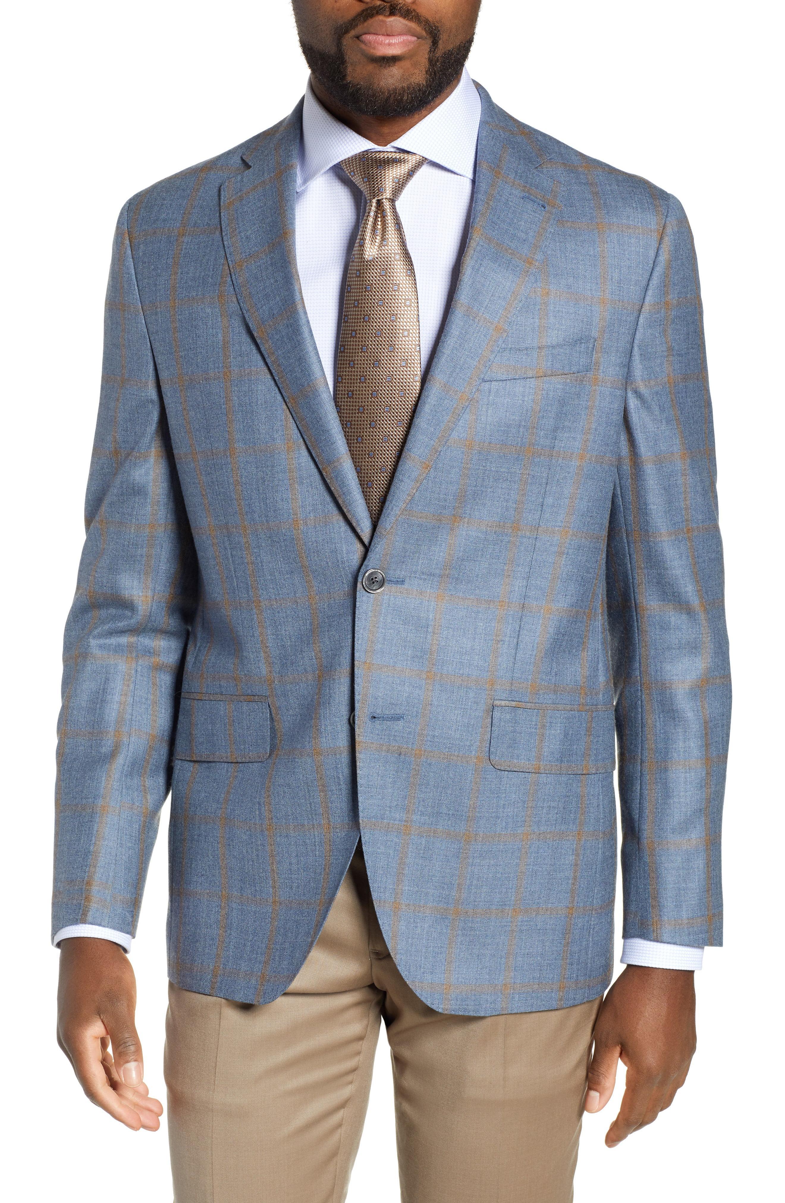 05c4b221fdac88 Lyst - David Donahue Ashton Classic Fit Windowpane Wool & Silk Sport ...