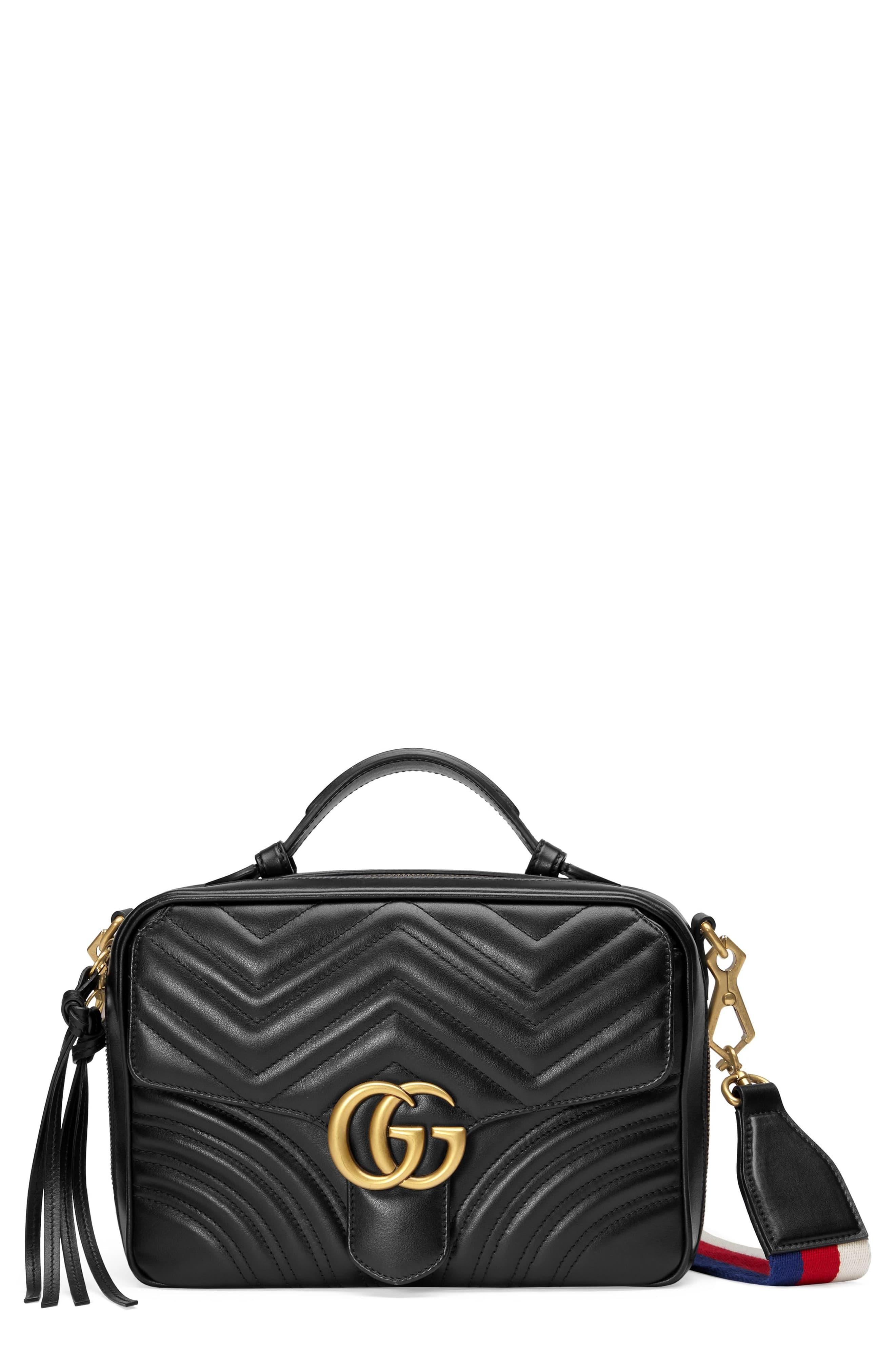 7e0ca52756f8cd Gucci. Women's Black Small Gg Marmont 2.0 Matelassé Leather Camera Bag ...