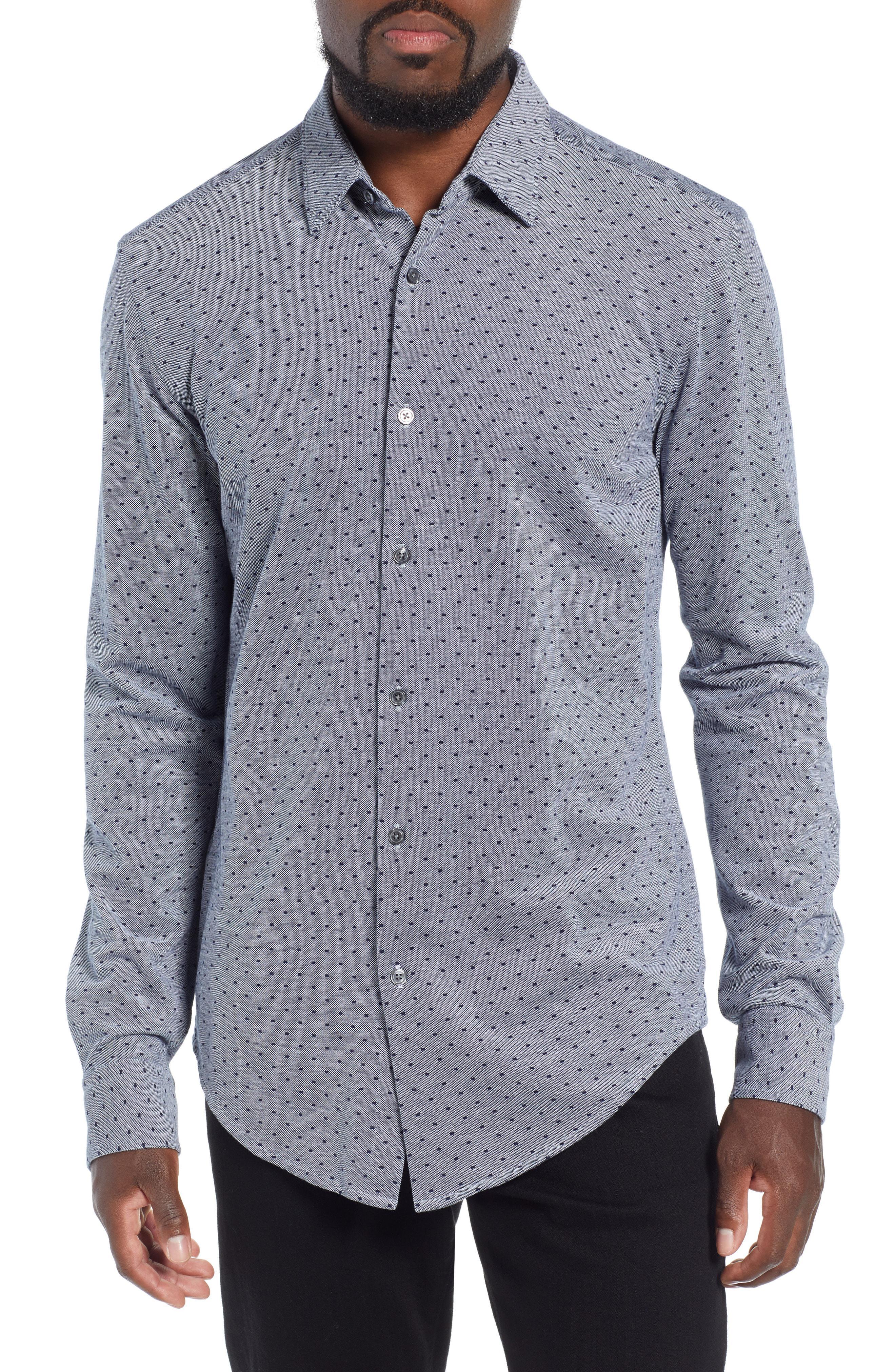 d58255ea1 Lyst - Boss Ronni Slim Fit Dot Sport Shirt in Blue for Men