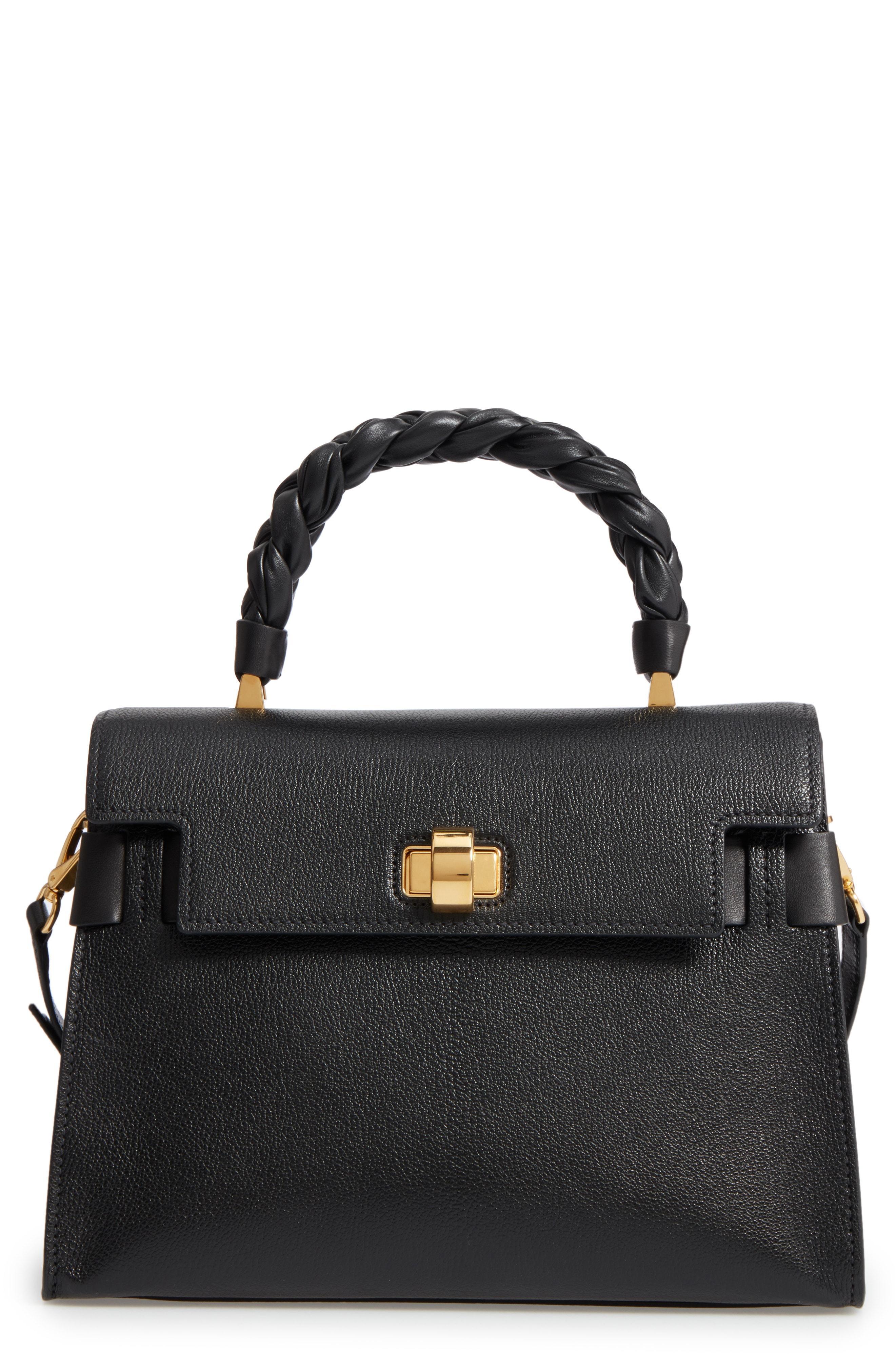 4b2cfbb36dc9 Miu Miu Madras Click Goatskin Leather Satchel in Black - Lyst