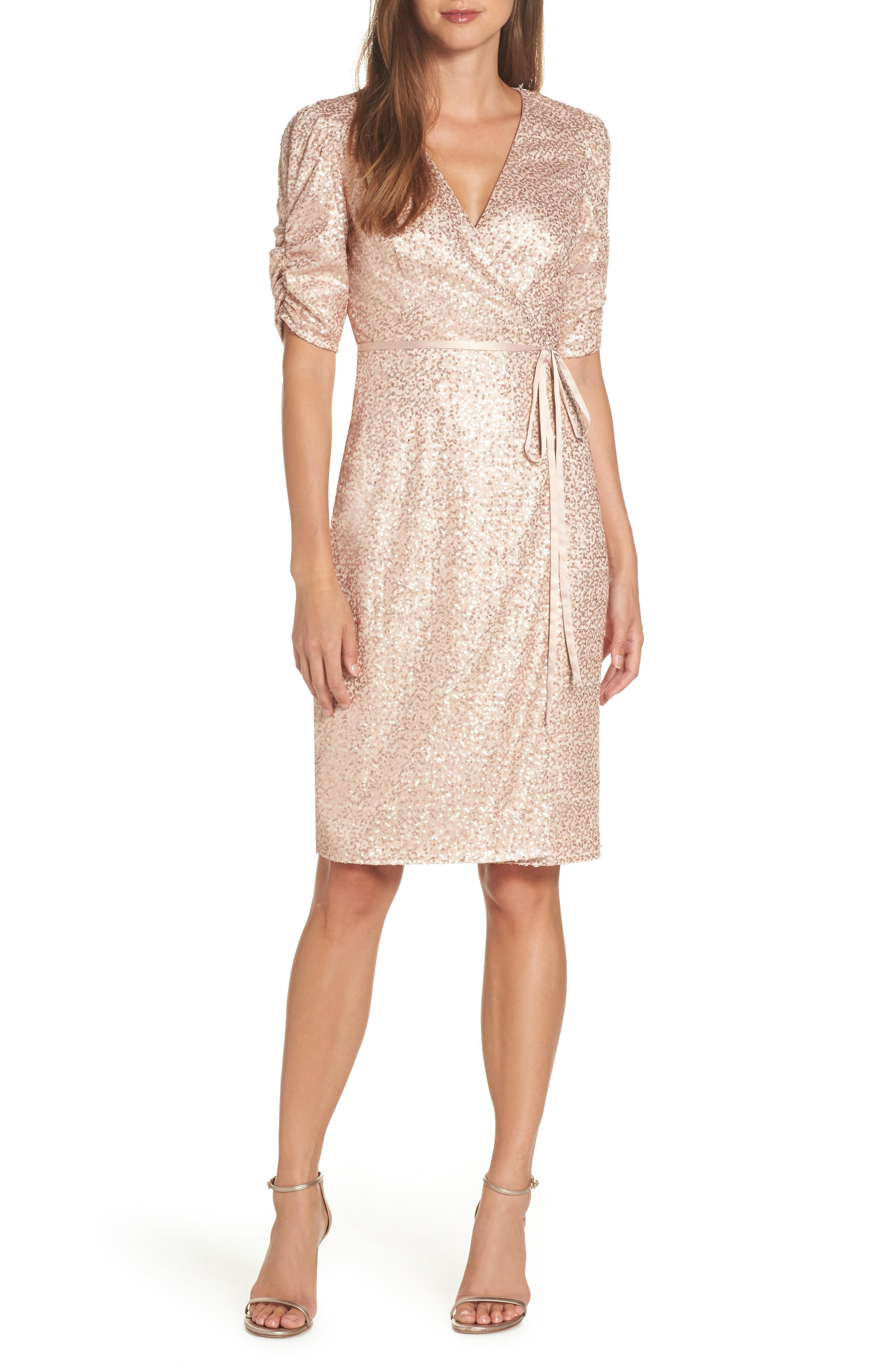 96826941f21 Lyst - Eliza J Sequin Faux Wrap Dress - Save 40%