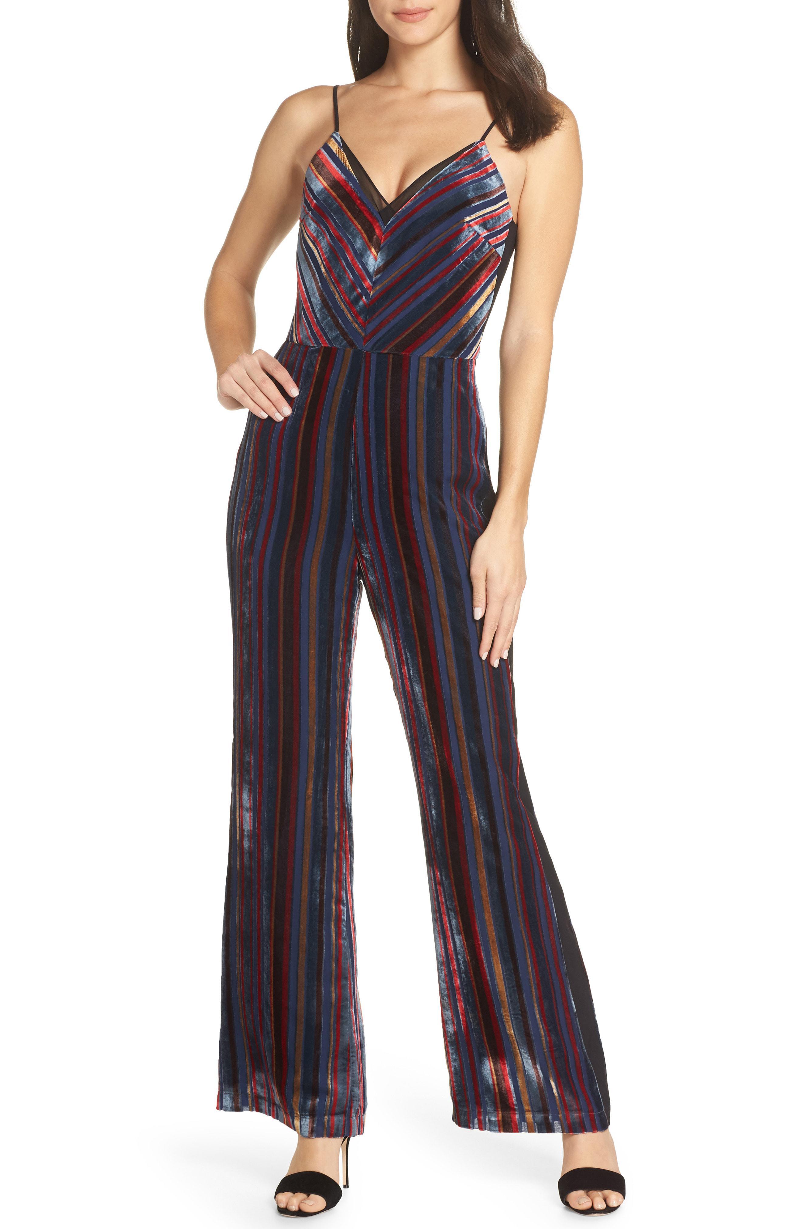 eba17ca462c Lyst - Harlyn Stripe Velvet Jumpsuit in Blue