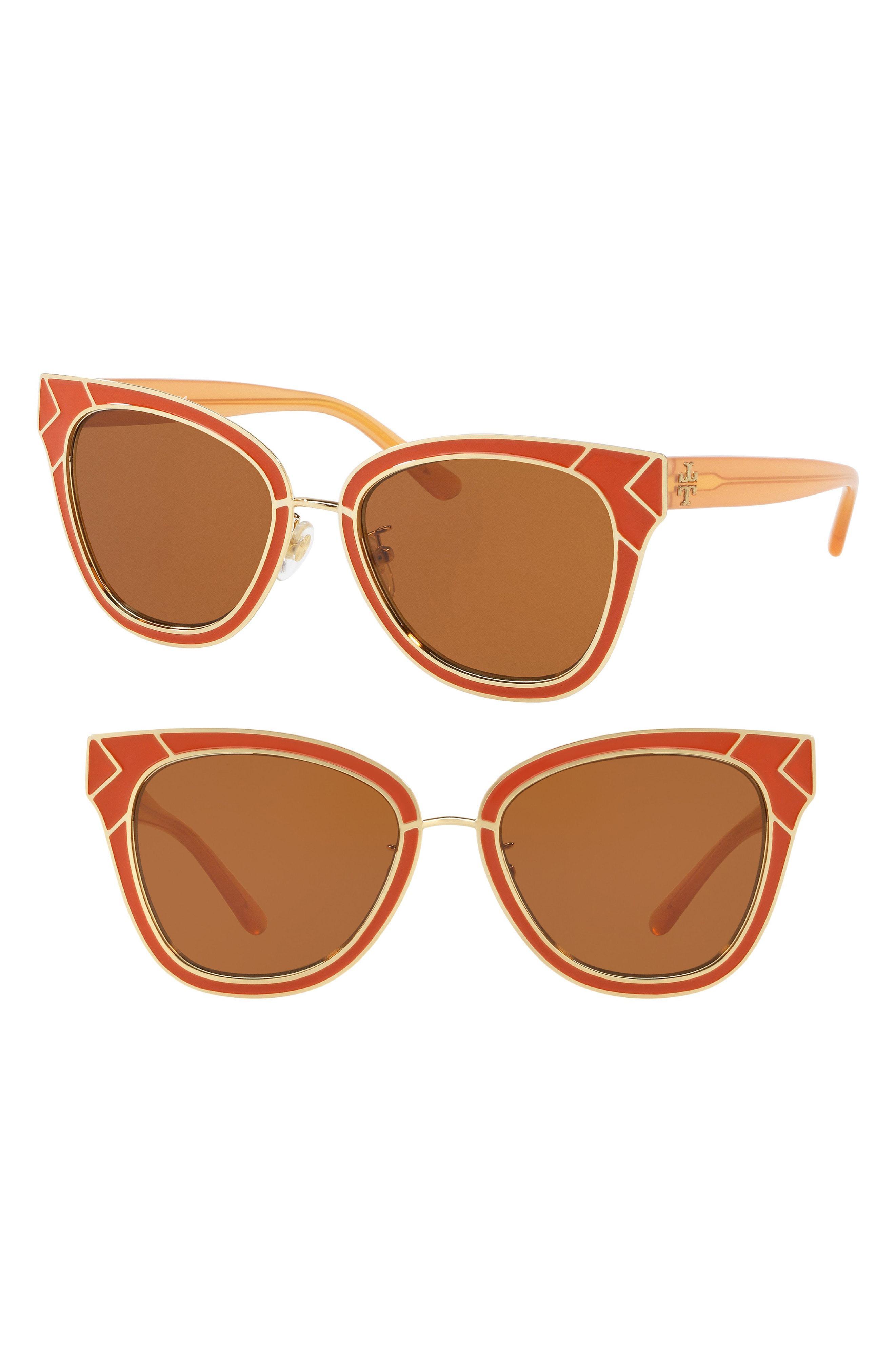 5ca1a2296b Lyst - Tory Burch Enamel San Ray 53mm Sunglasses in Brown