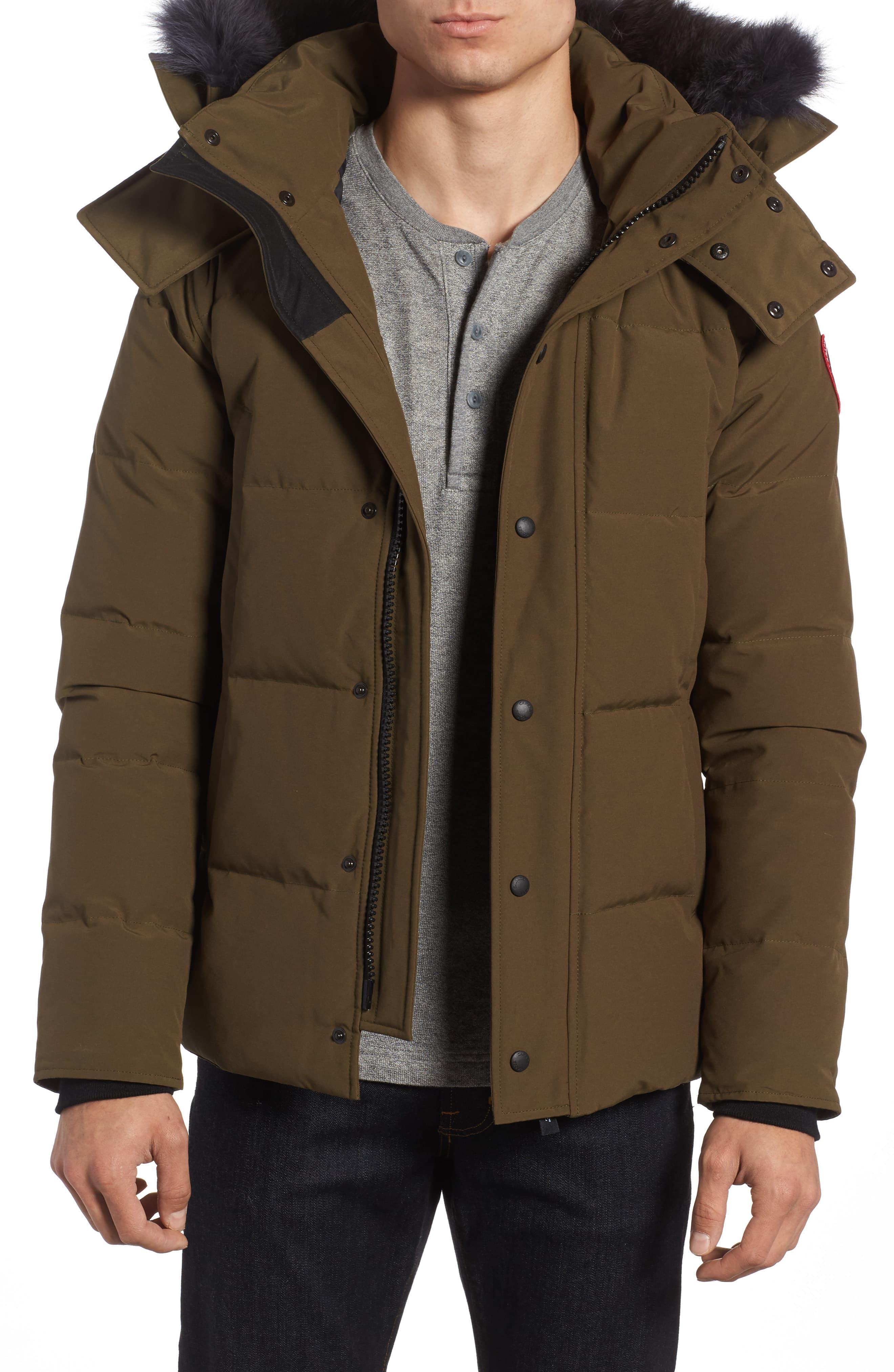 Wyndham Slim Fit Genuine Coyote Fur Trim Down Jacket