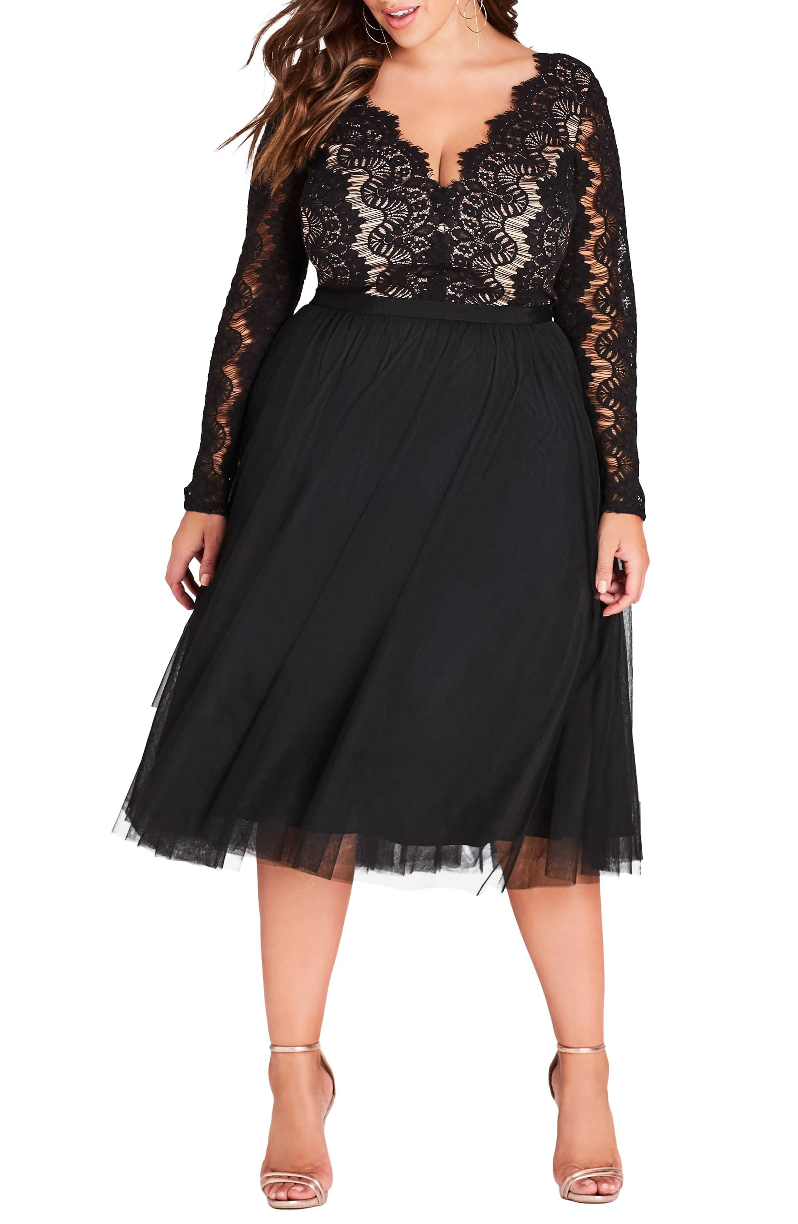 City Chic Womens Apparel Womens Plus Size Formal Fit and Flare Dress with Lace Bodice