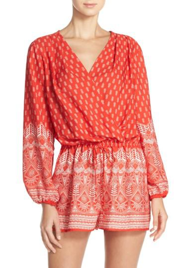 251298e51b1b Lyst - Fraiche By J Print Long Sleeve Romper in Red