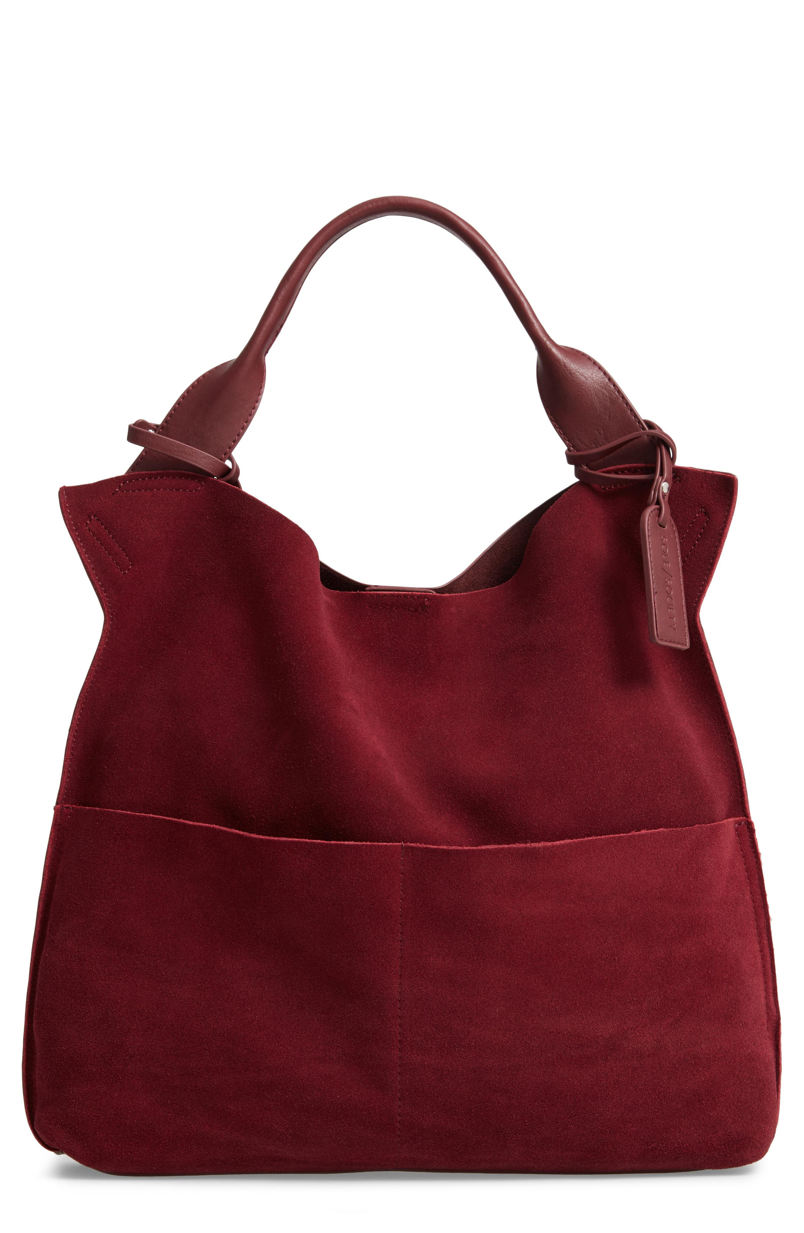 d9a9c7765e5a Lyst - Sole Society Jamari Suede   Faux Leather Tote - in Red