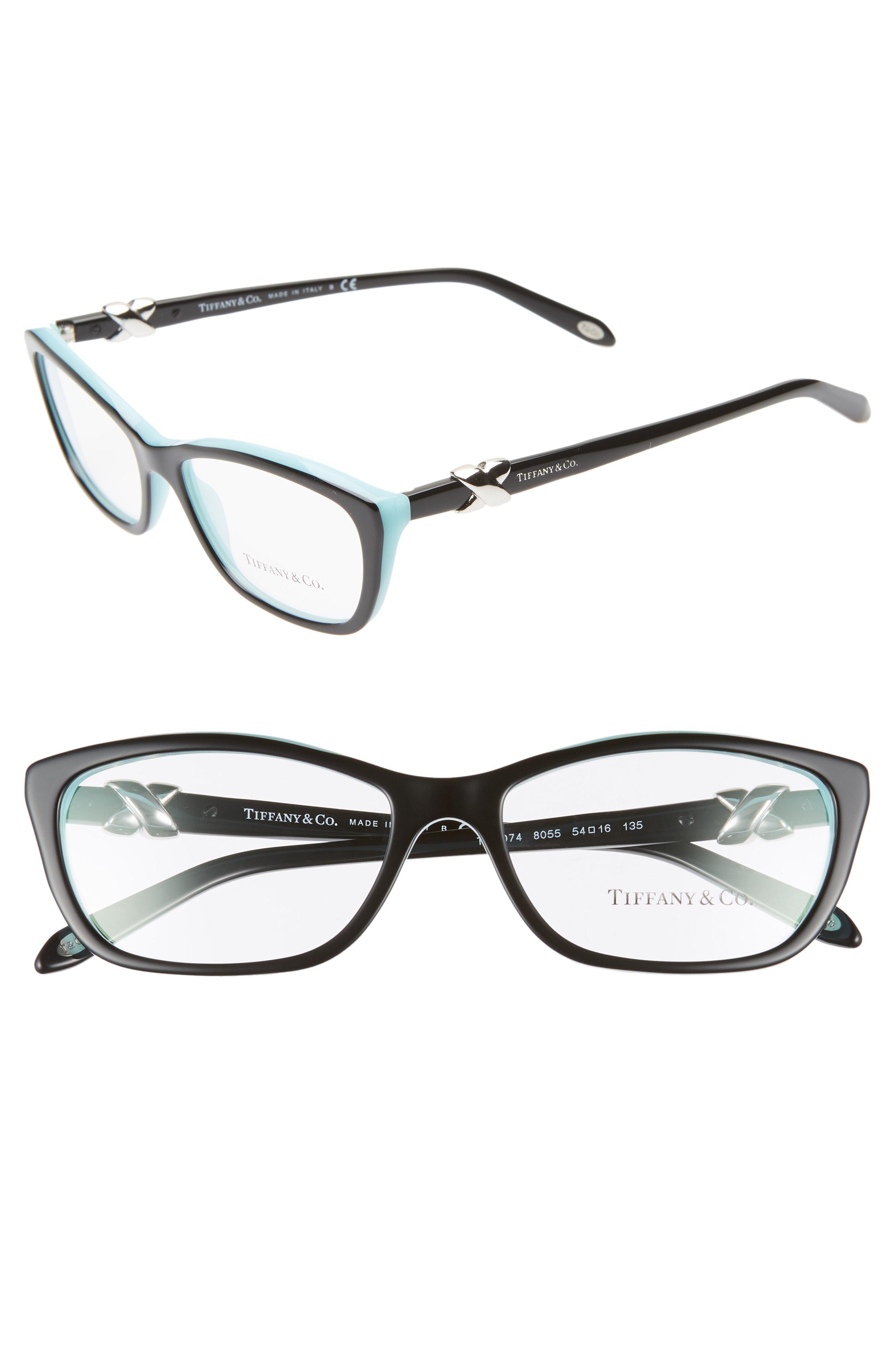 e2b86664c7 Lyst - Tiffany   Co. 54mm Cat Eye Optical Glasses - Top Black  Blue ...