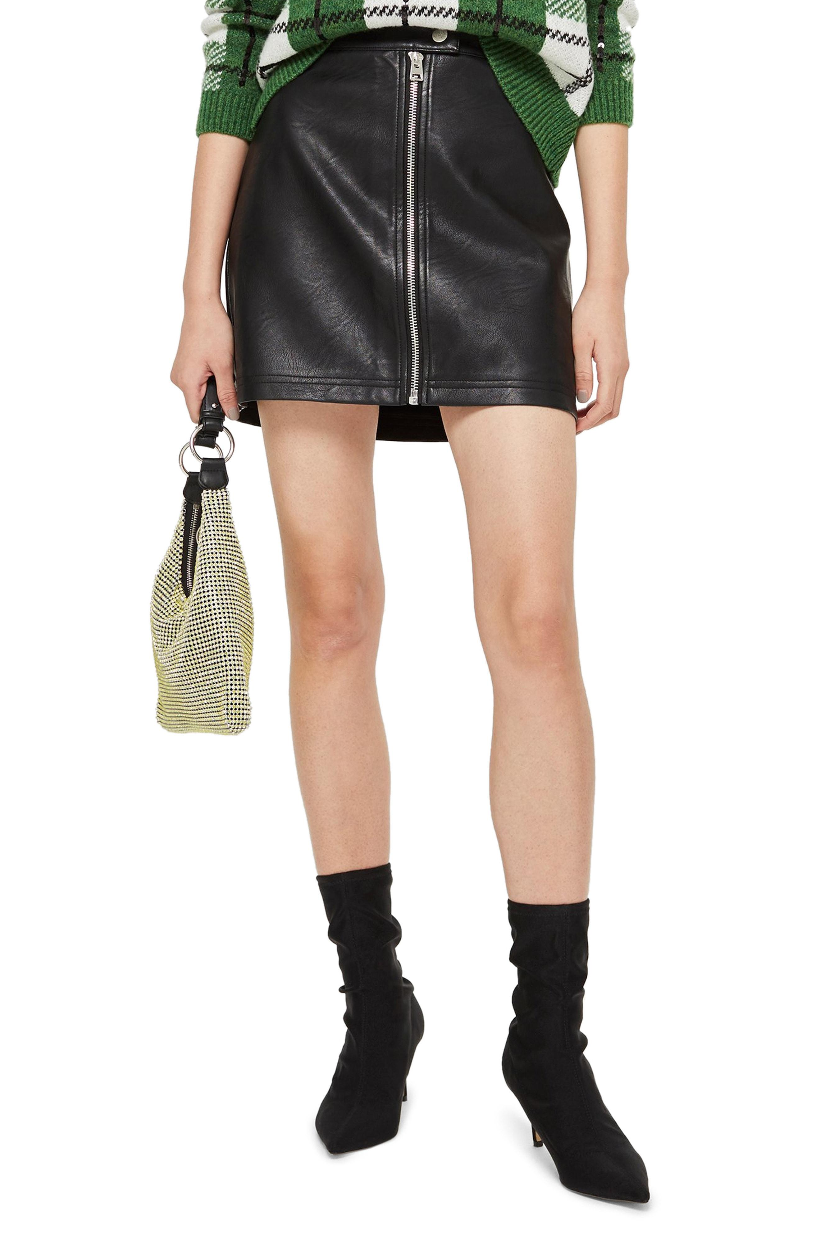 ad1ce1db8b Lyst - TOPSHOP Penelope Faux Leather Miniskirt in Black