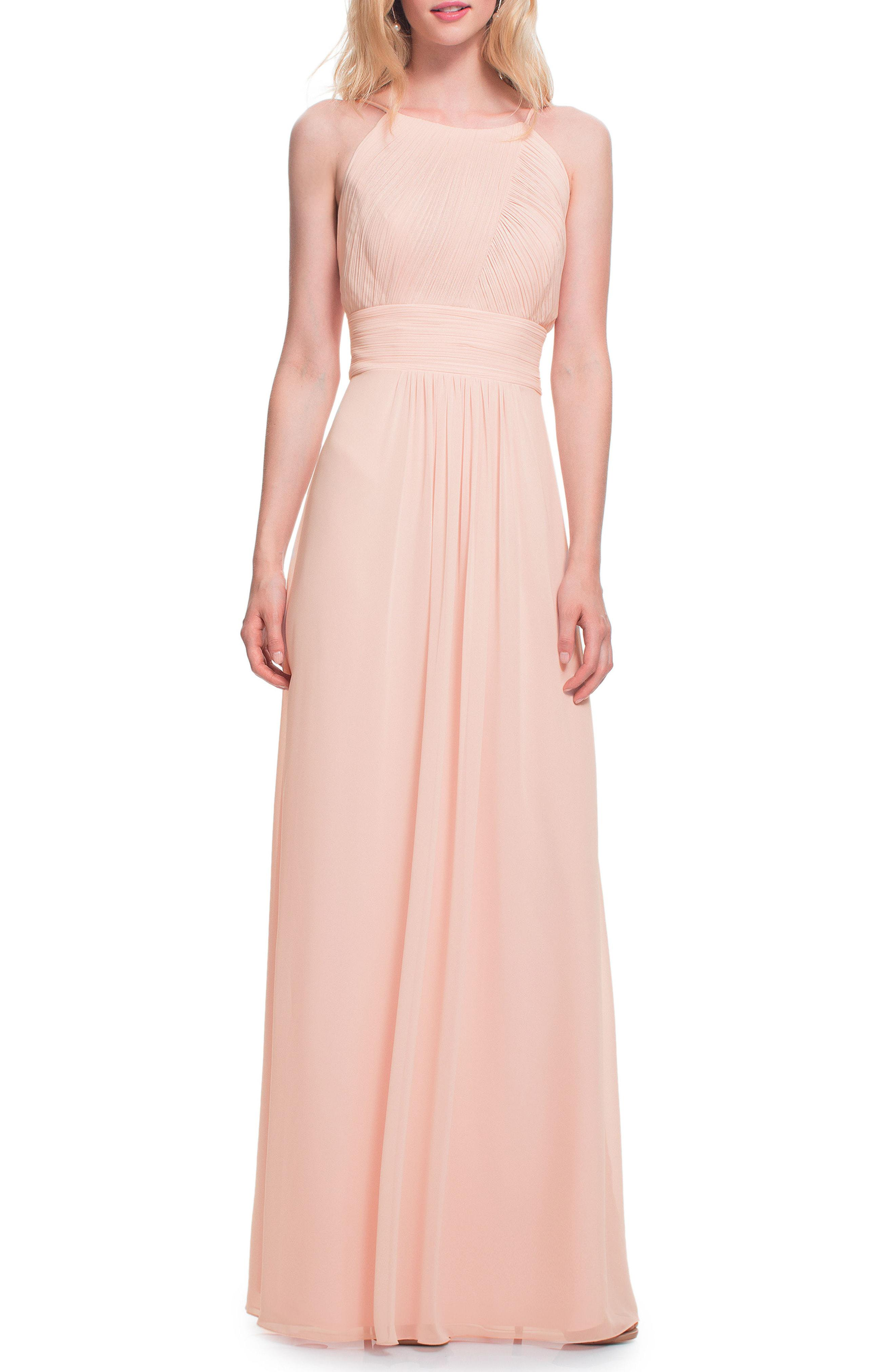 4cd63112a63 Bill Levkoff   Low Back Pleated Chiffon Gown in Pink - Lyst