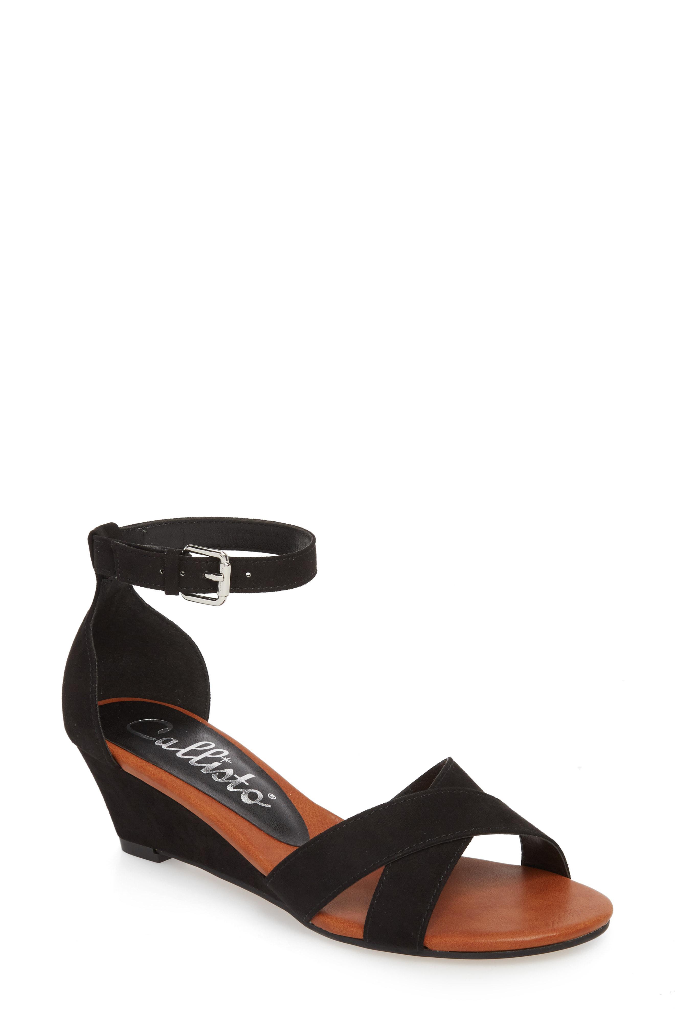 65aab673726 Callisto - Black Strobe Wedge Sandal - Lyst. View fullscreen