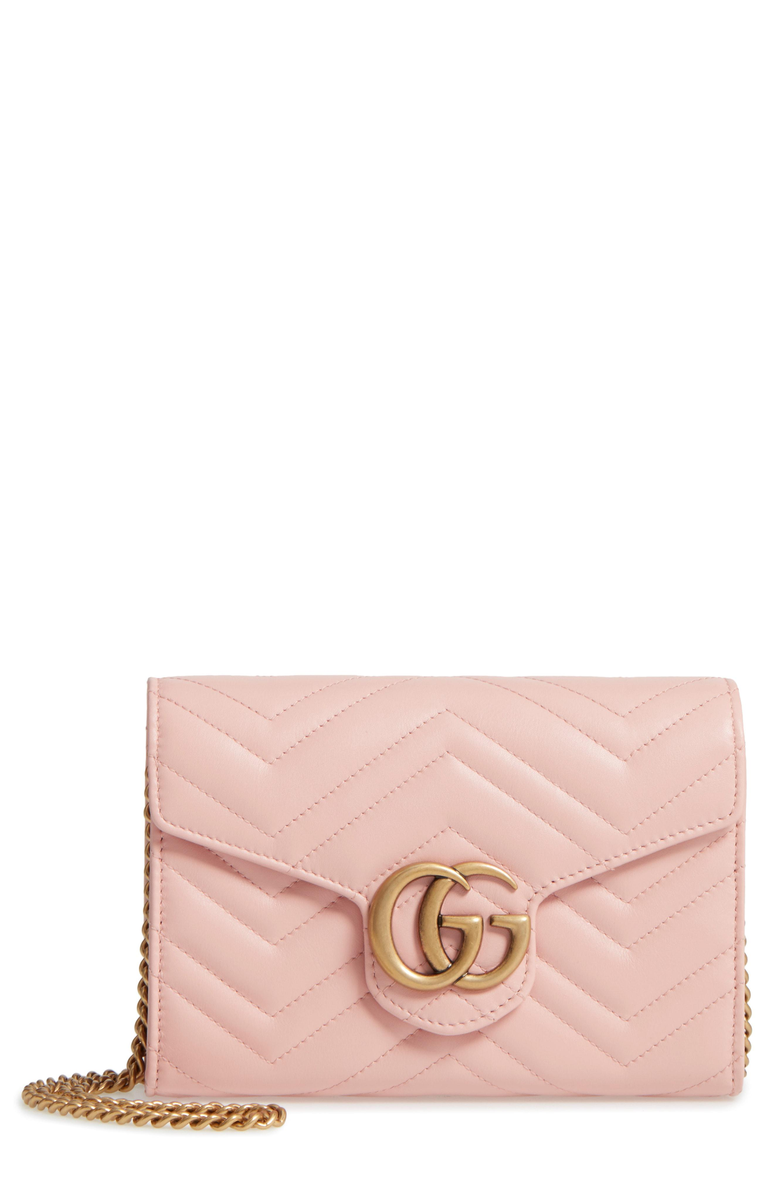 08a4b4d7e938 Lyst - Gucci Gg Marmont Matelasse Leather Wallet On A Chain in Pink