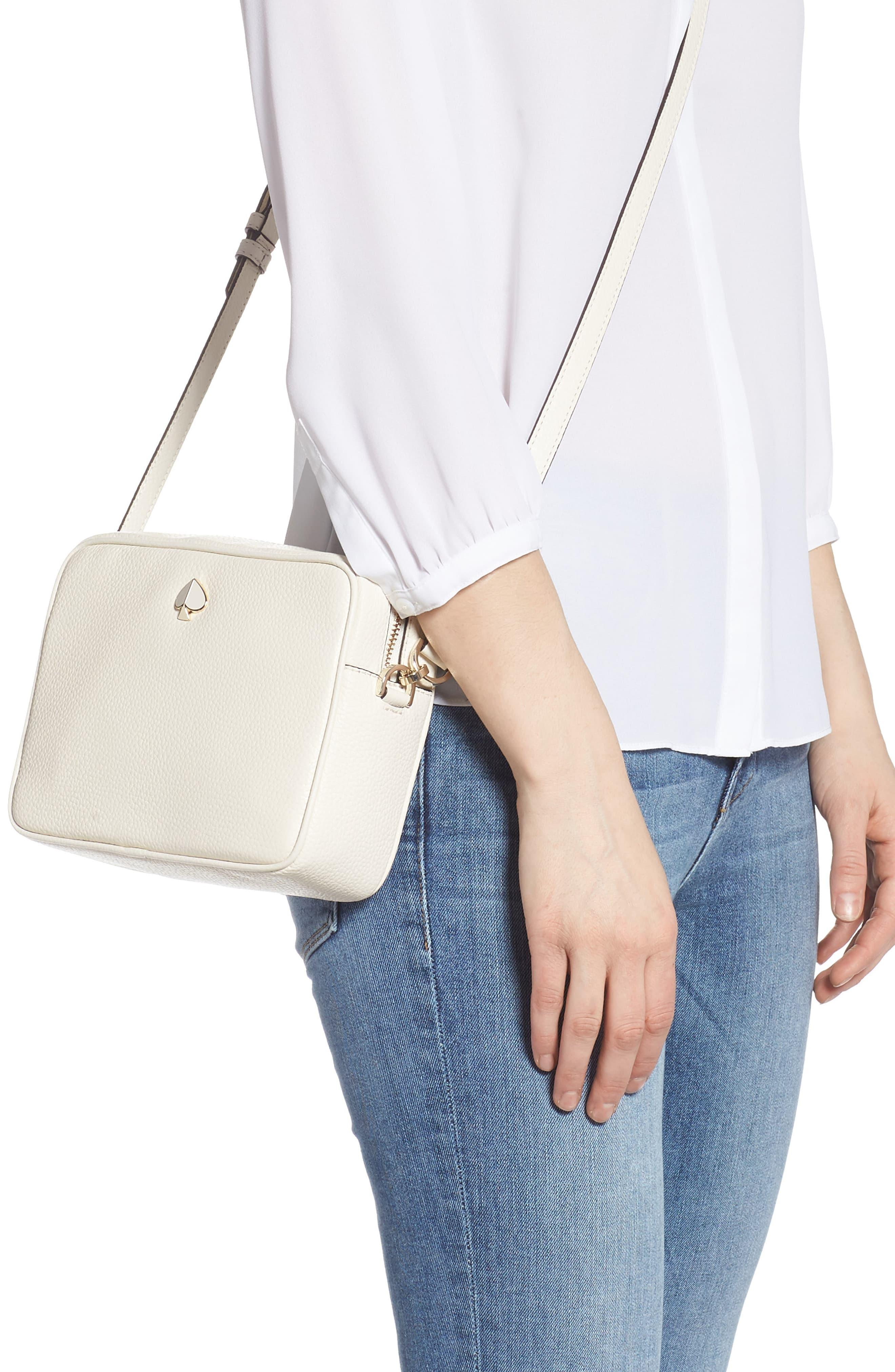 Kate Spade Leather Polly Medium Camera Bag In Parchment Natural Lyst
