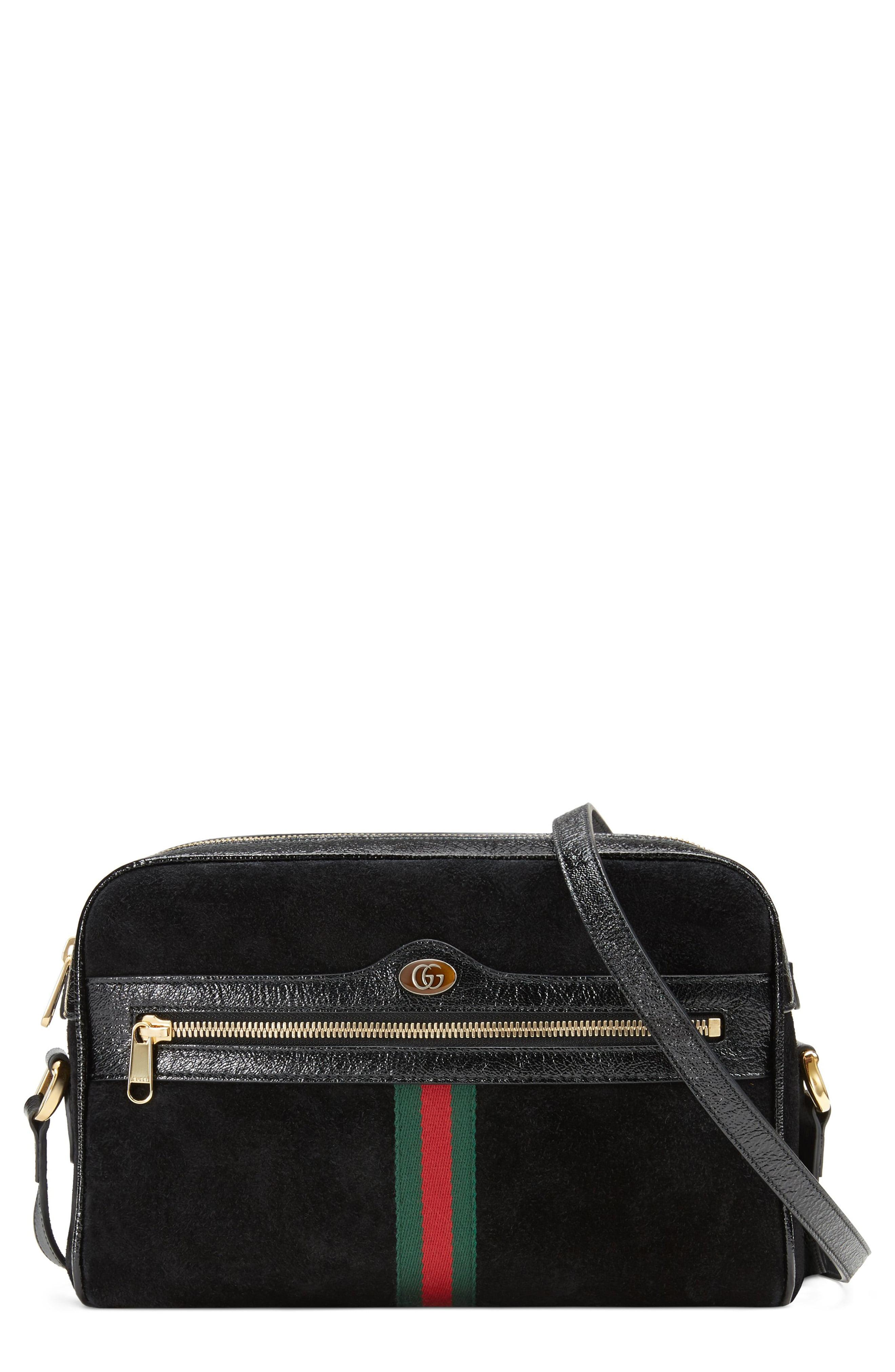 f3c8eb56825 Lyst - Gucci Ophidia Small Suede Crossbody Bag in Black