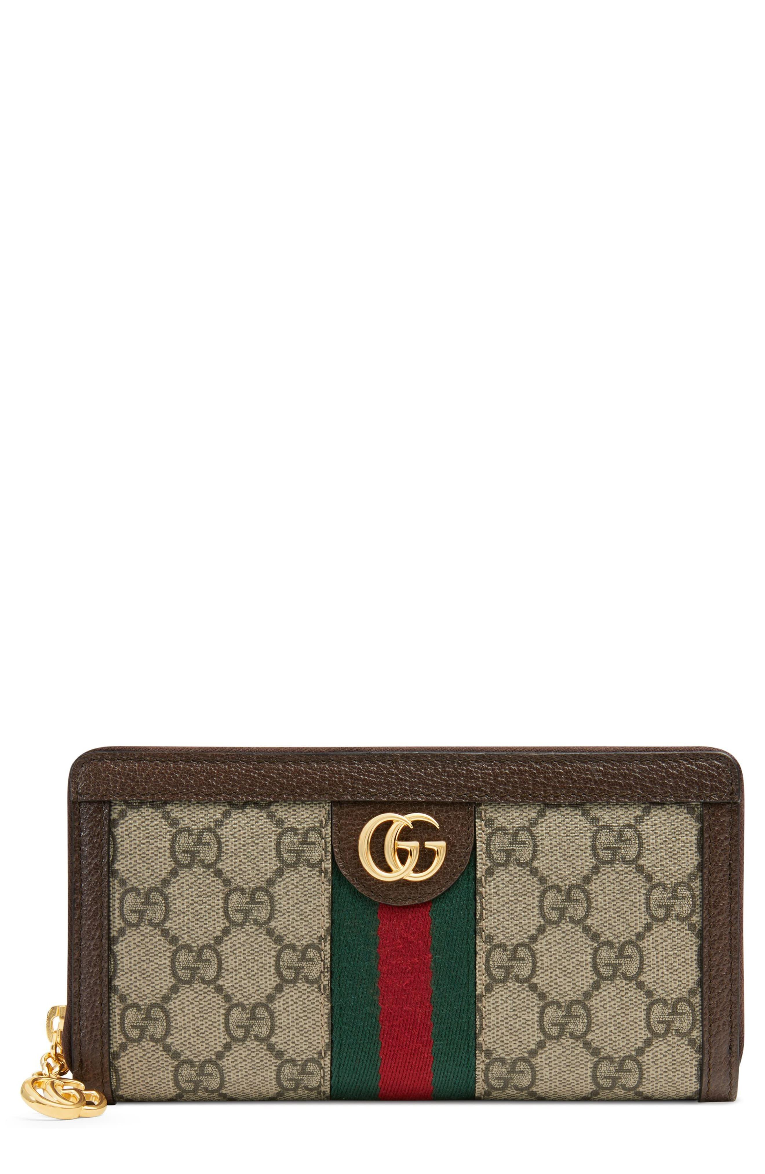 62a4a5058200 Gucci Ophidia Gg Supreme Zip-around Wallet in Natural - Lyst