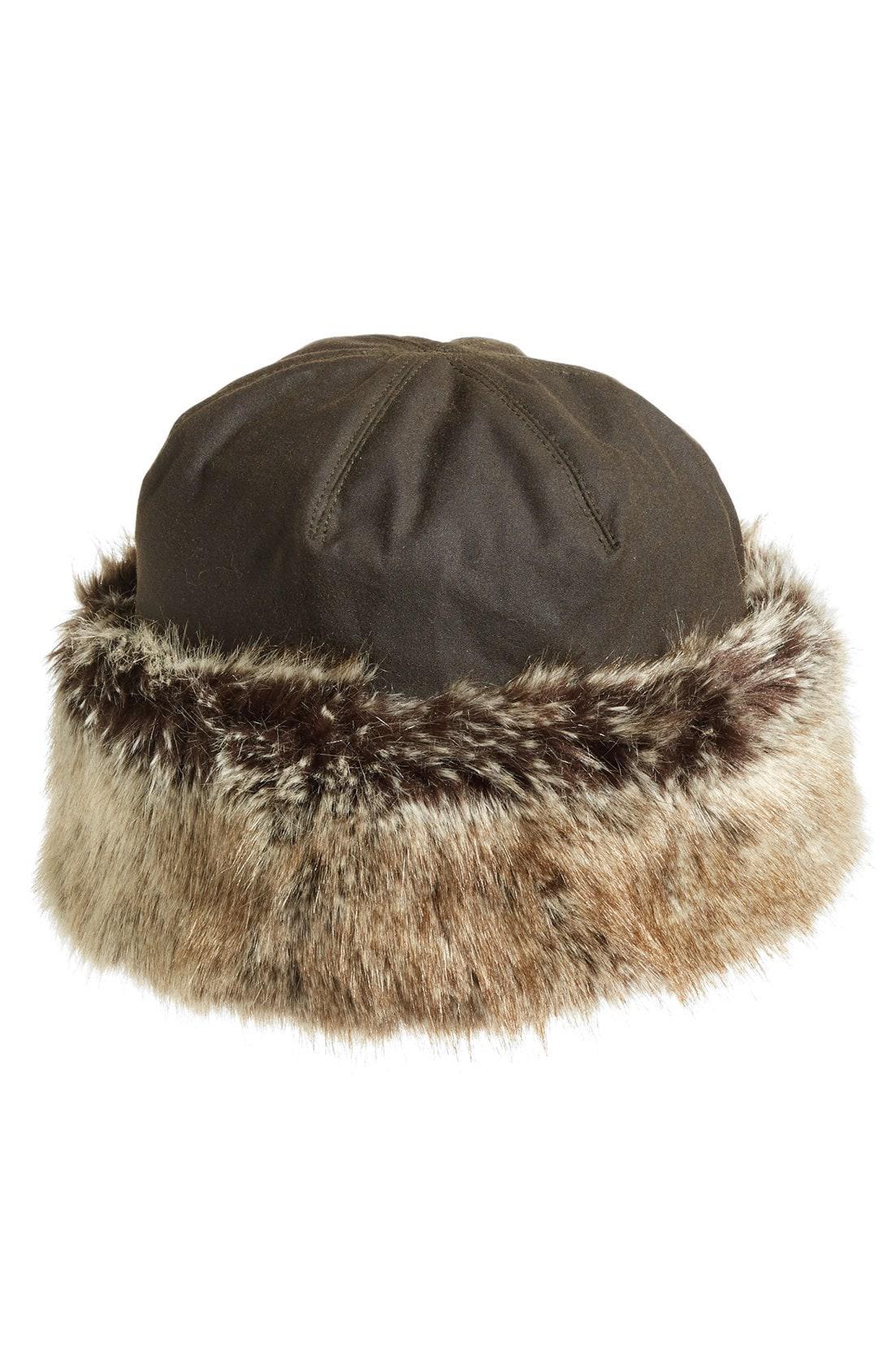 Barbour Ambush Waxed Cotton Hat With Faux Fur Trim Lyst