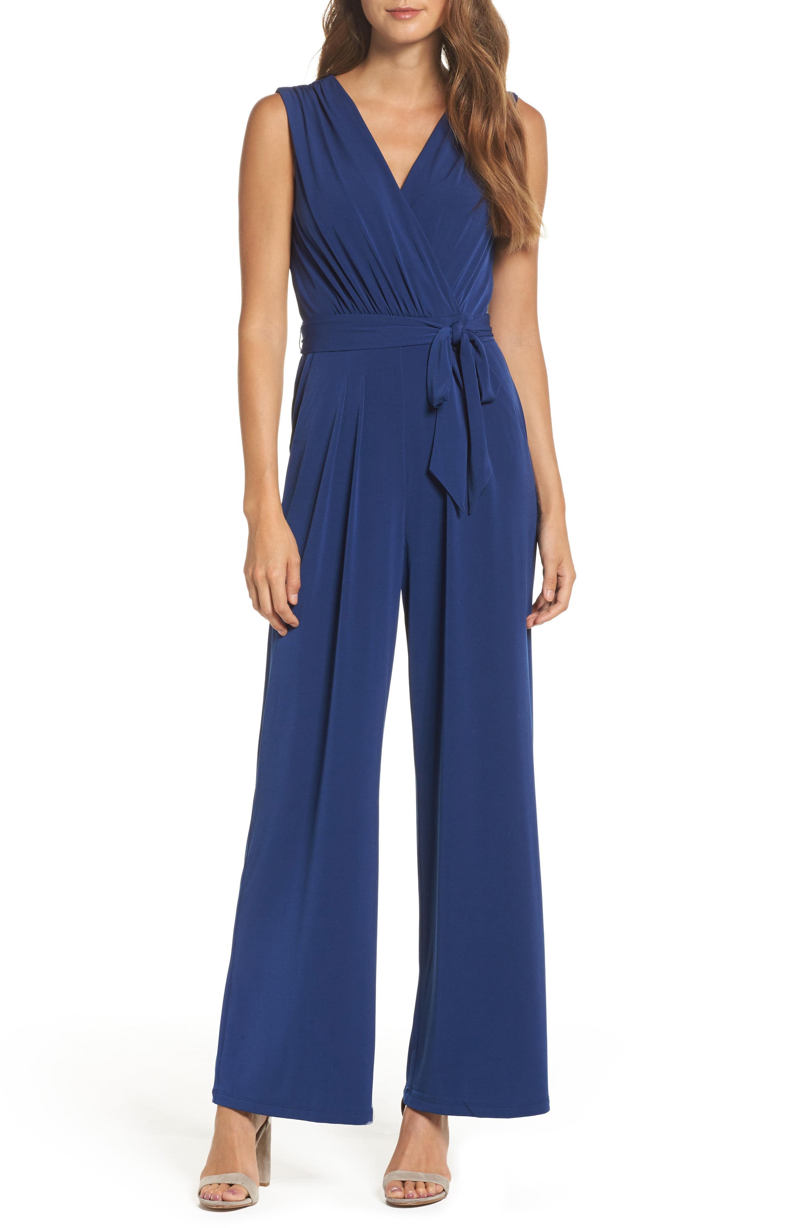 19b9a71e8d8 Lyst - Vince Camuto Faux Wrap Jersey Jumpsuit in Blue