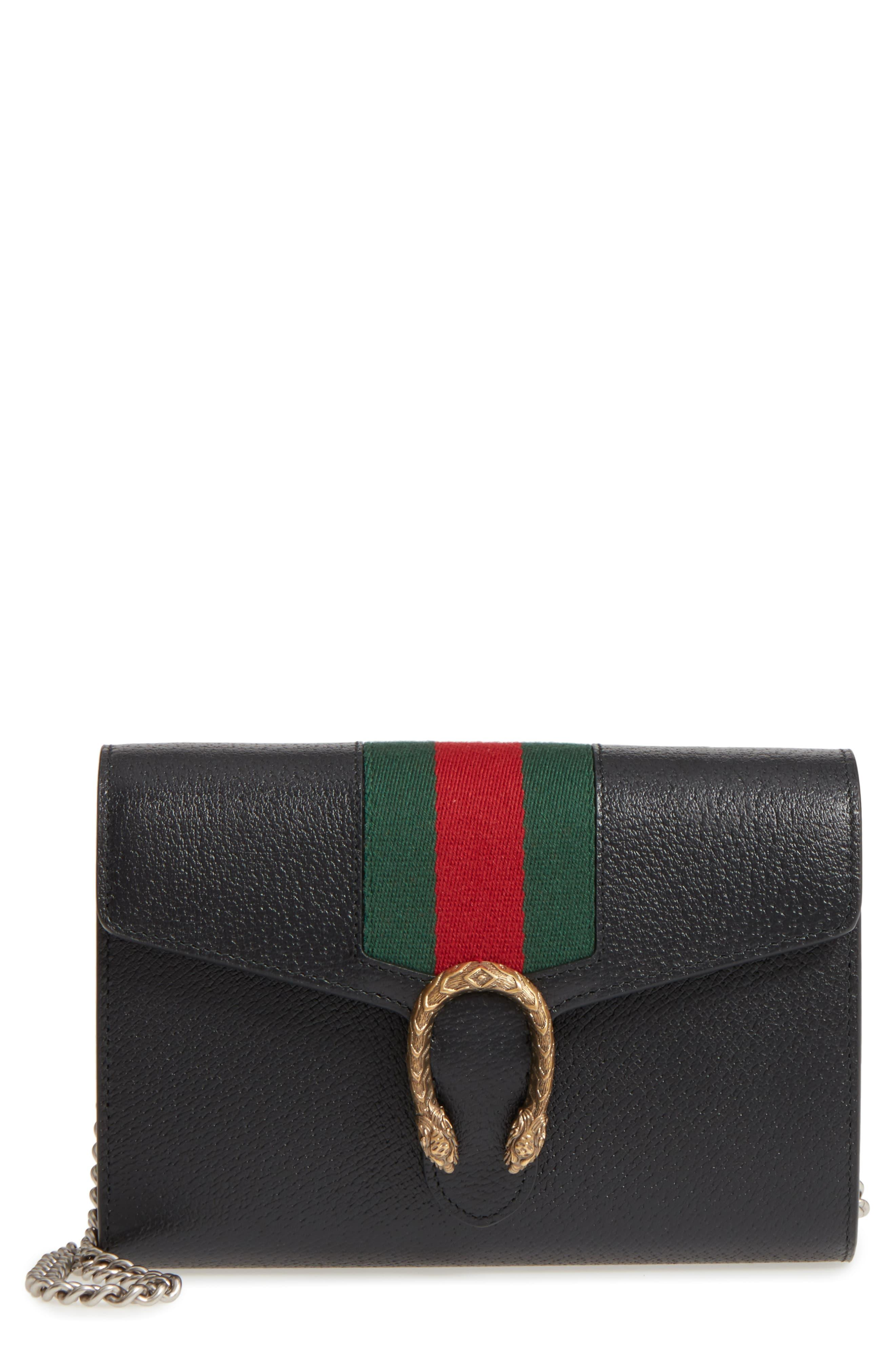 e0961456adff Gucci Dionysus Web Stripe Leather Wallet On A Chain - in Black - Lyst