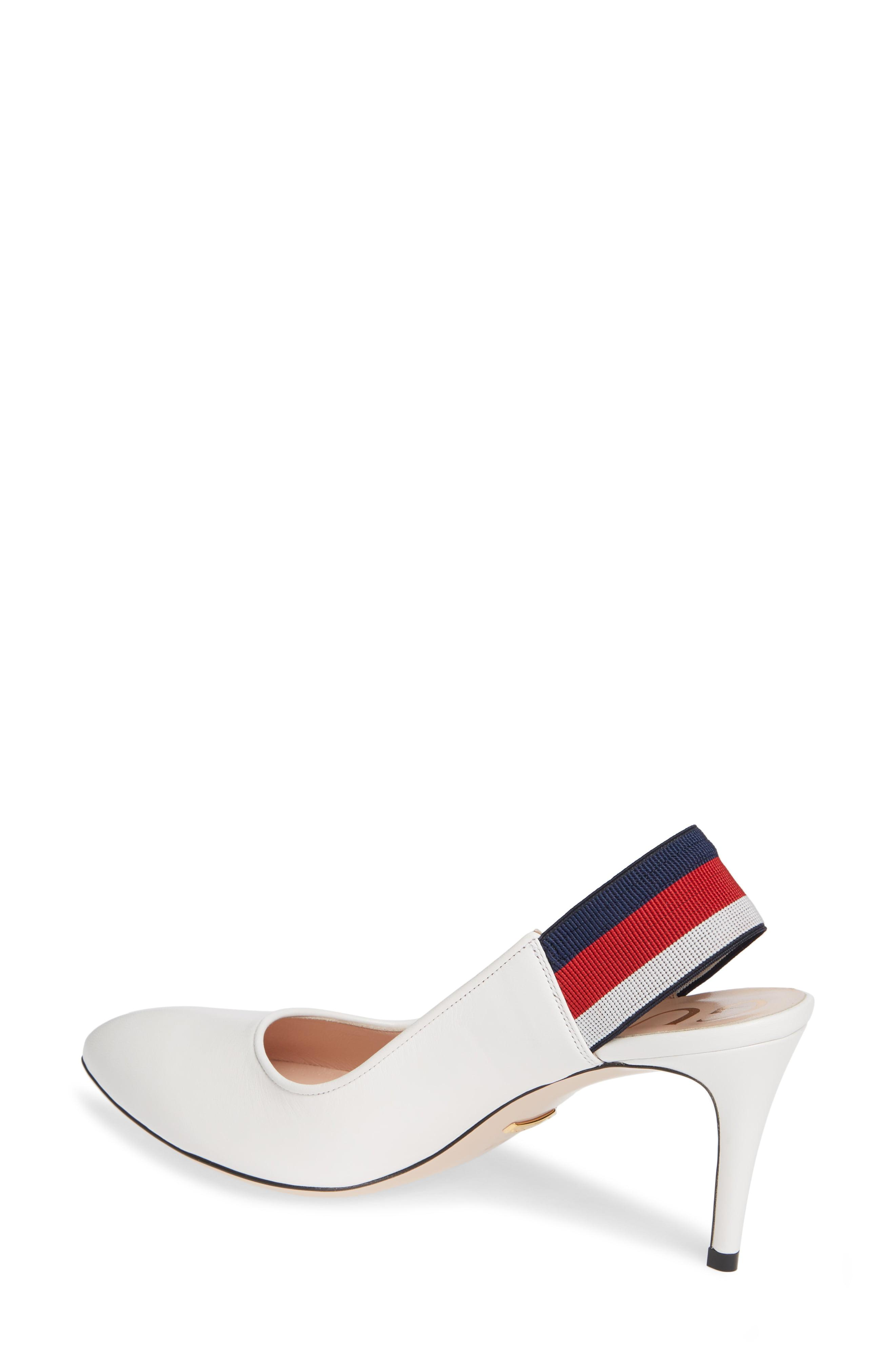 6bdfc6e43c6 Lyst - Gucci Leather Web Mid-heel Slingback Pump in White - Save 10%