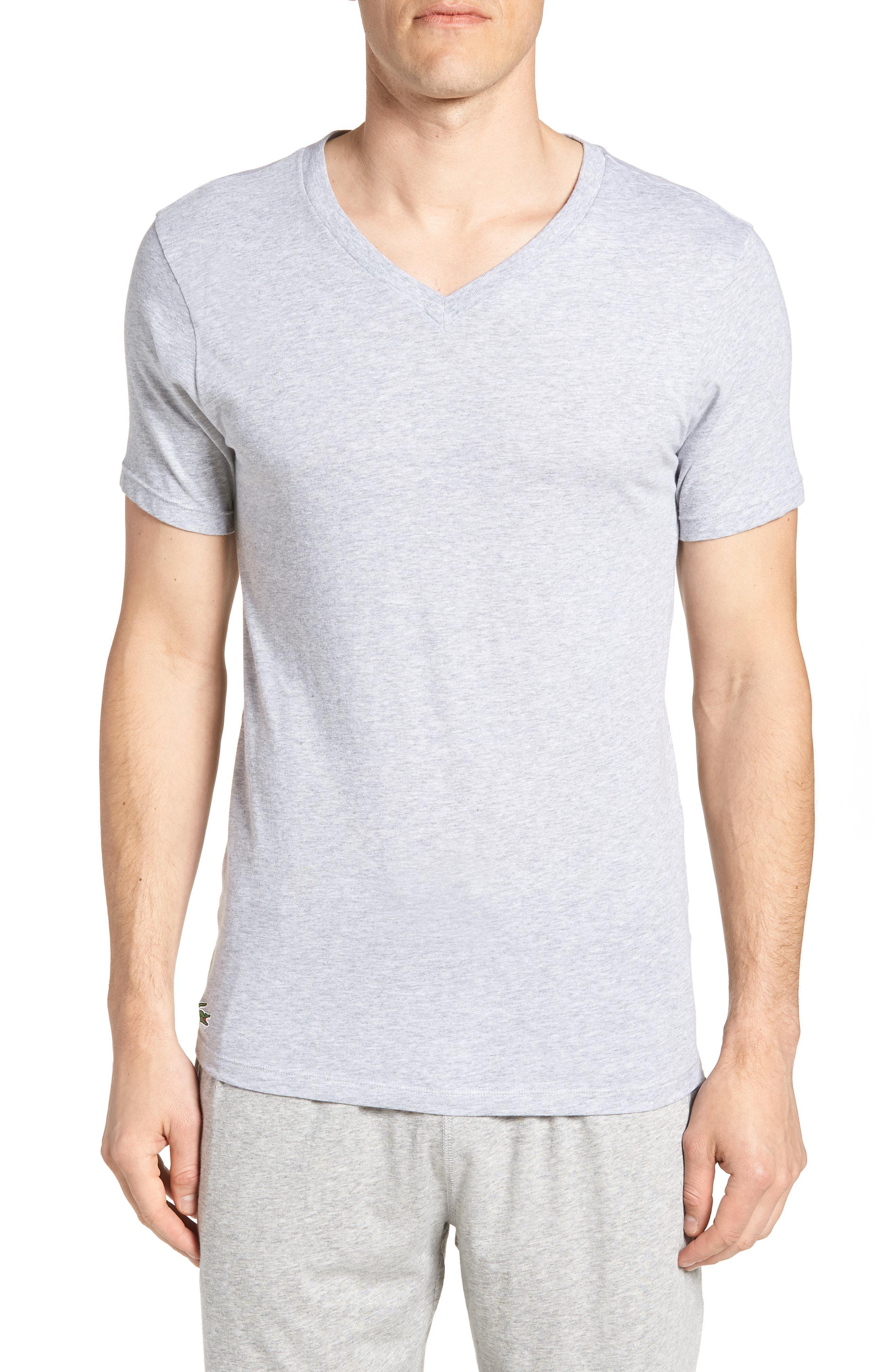 2d926993d5ec4 Lacoste. Men s Gray 3-pack Slim Fit V-neck T-shirts