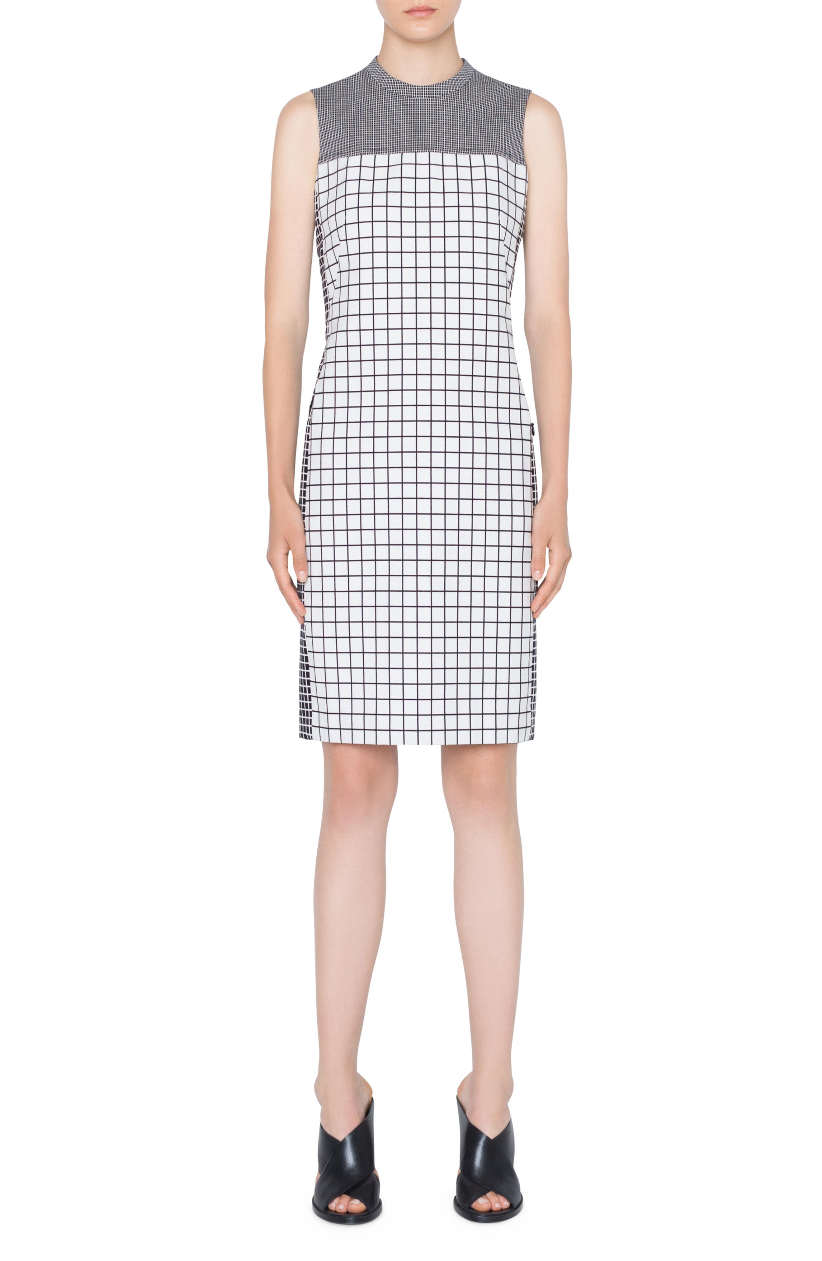 7a68873a0a Lyst - Akris Punto Grid Sheath Dress in White