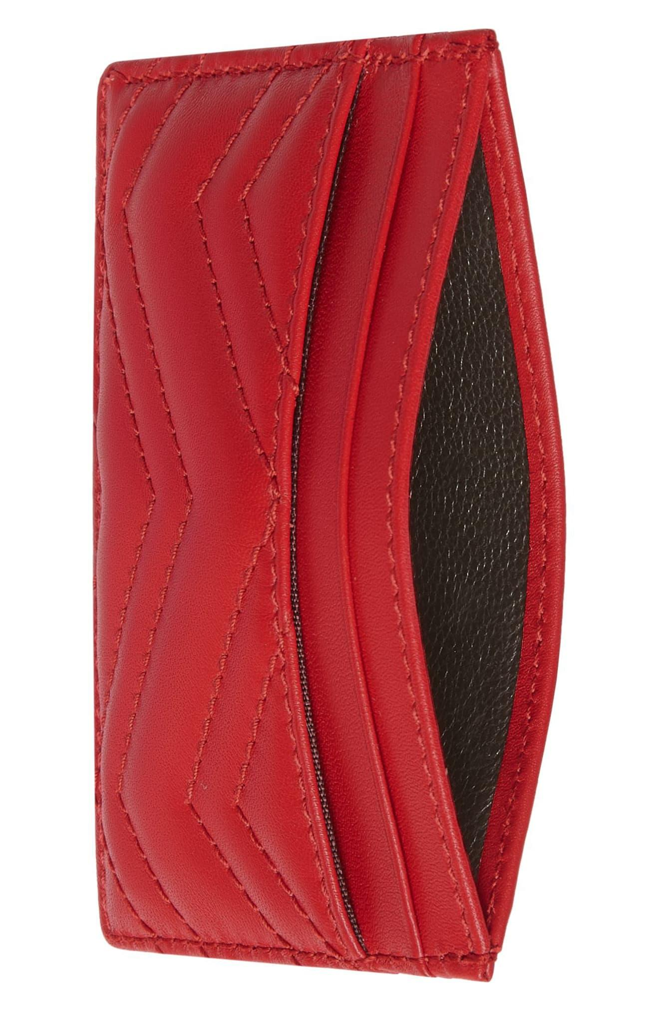 287a6268019162 Gucci - Red Gg Marmont Matelassé Leather Card Case - Lyst. View fullscreen