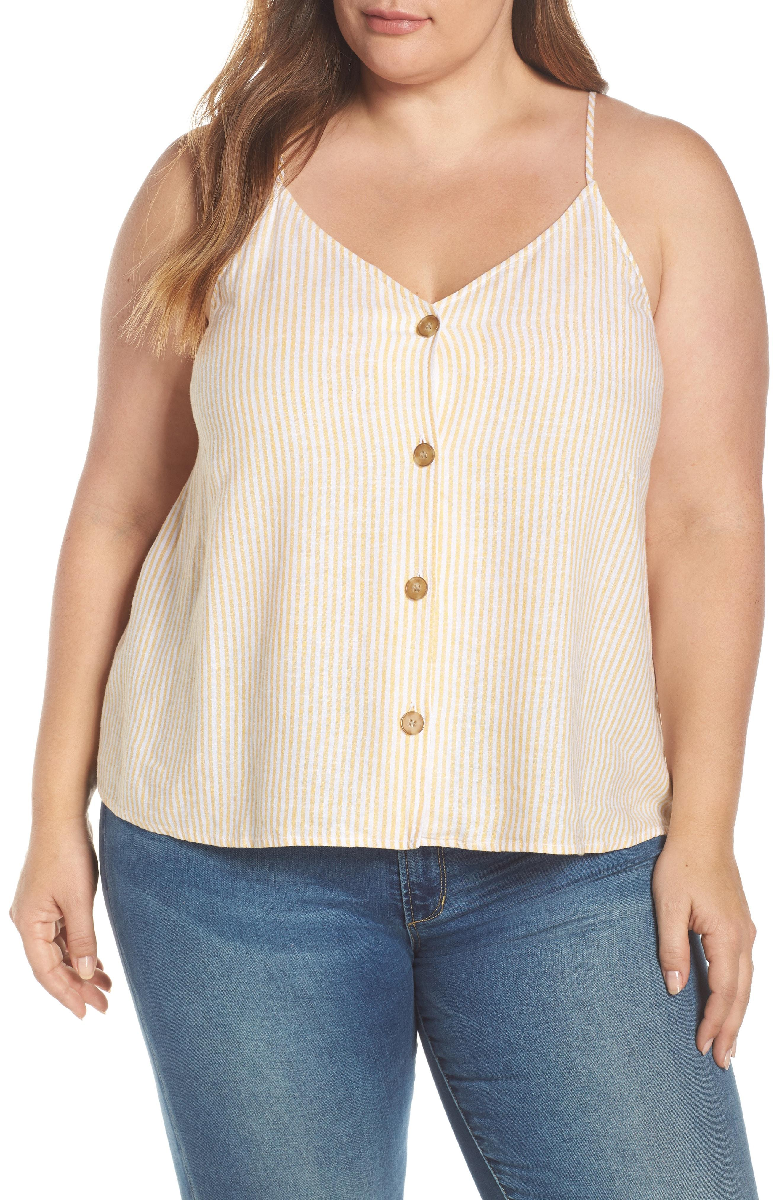 9877b28b1 Lyst - BP. Button Front Linen Blend Camisole Top in Natural